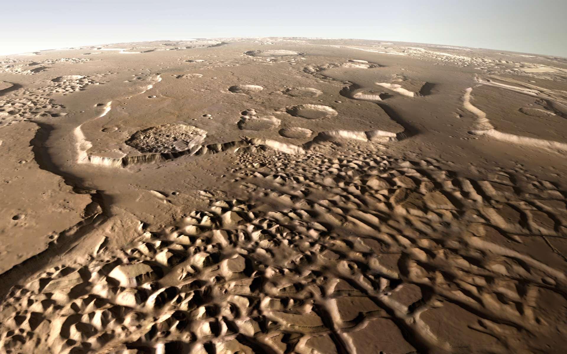 Vue en perspective d'Hydraotes Chaos. © ESA, DLR