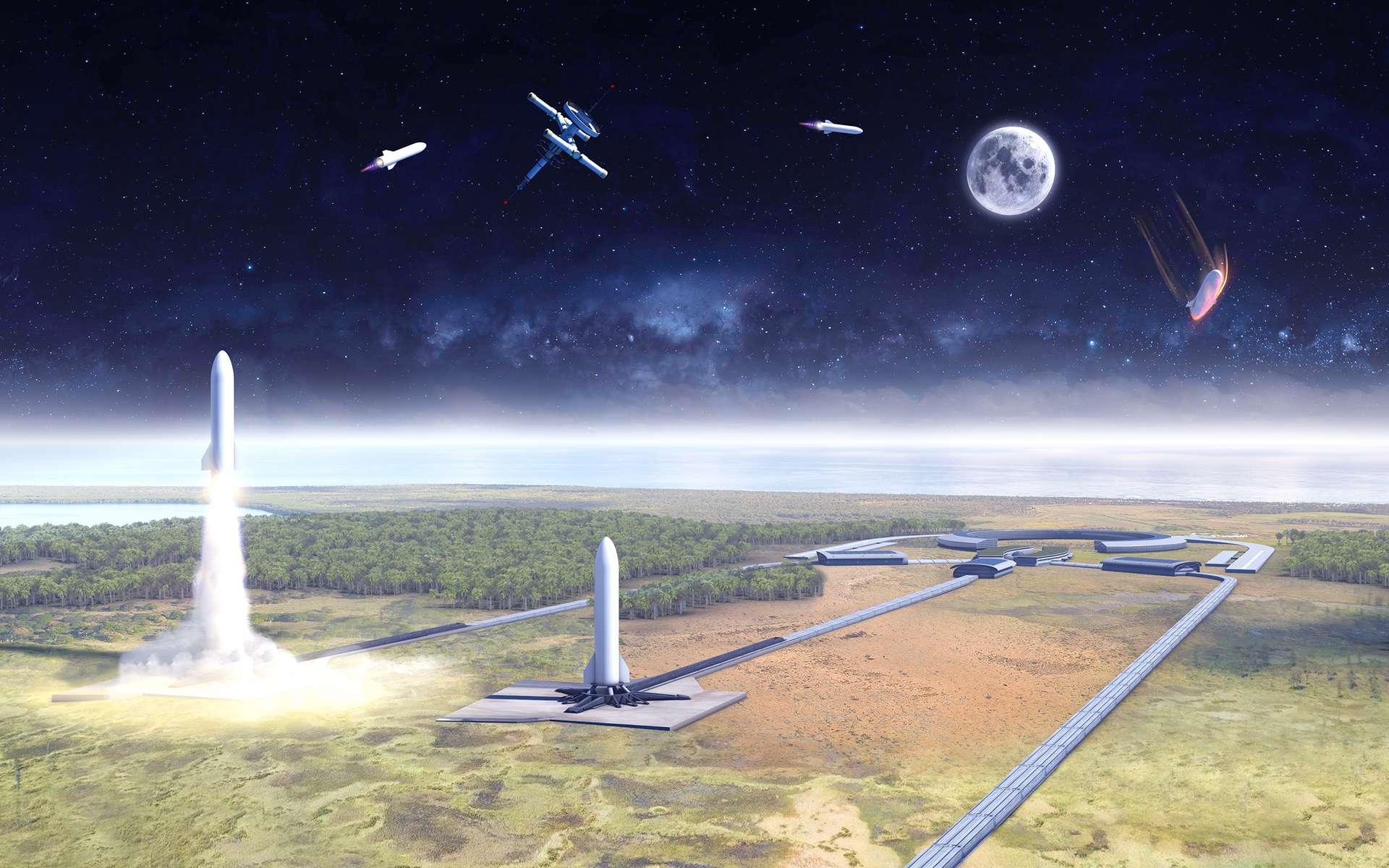Concept de lanceur mono-étage à l'étude dans le cadre de l'étude Ariane Ultimate du Cnes. © Cnes