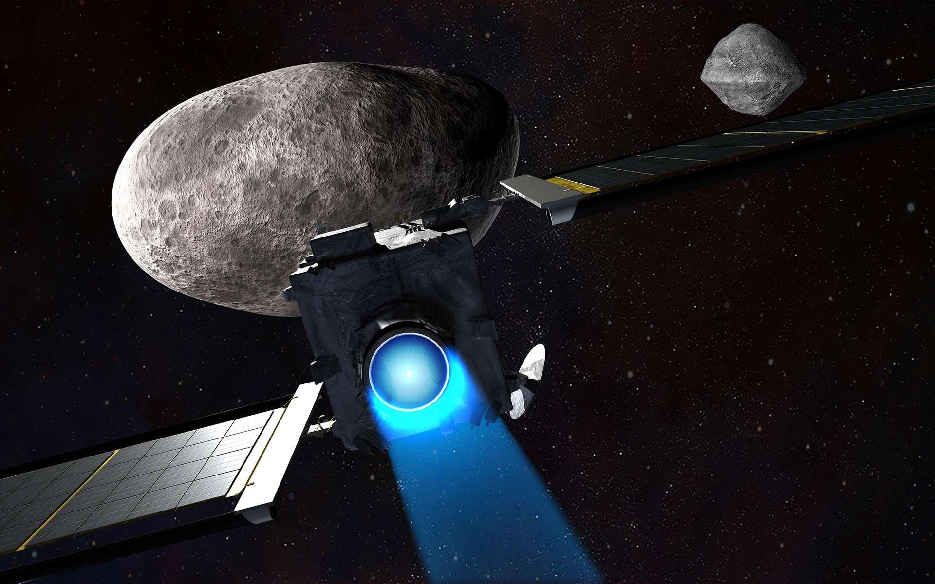 Le satellite Dart fonçant sur Didymoon pour la percuter à la vitesse de 6 kilomètres par seconde dans le but de la dévier de sa trajectoire. © Nasa