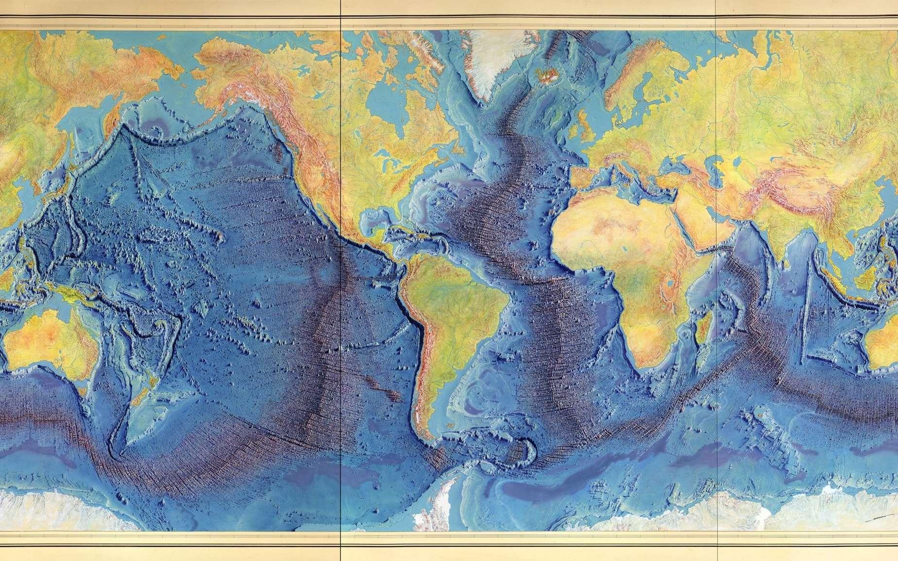 Cartographie des fonds océaniques réalisée par Marie Tharp, Bruce Heezen et Heinrich Berann en 1977. © Berann, Heezen, Tharp, Library of Congress
