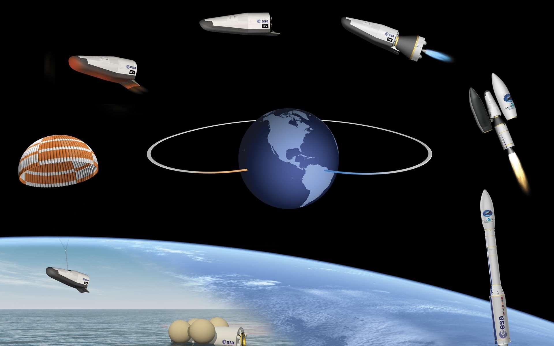 Le vol suborbital du IXV : après le lancement par une fusée Vega depuis Kourou, l'engin sans ailes mais à corps portant descendra en phase pilotée au-dessus de l'océan Pacifique avant le déploiement du parachute. © ESA–J. Huart, 2014