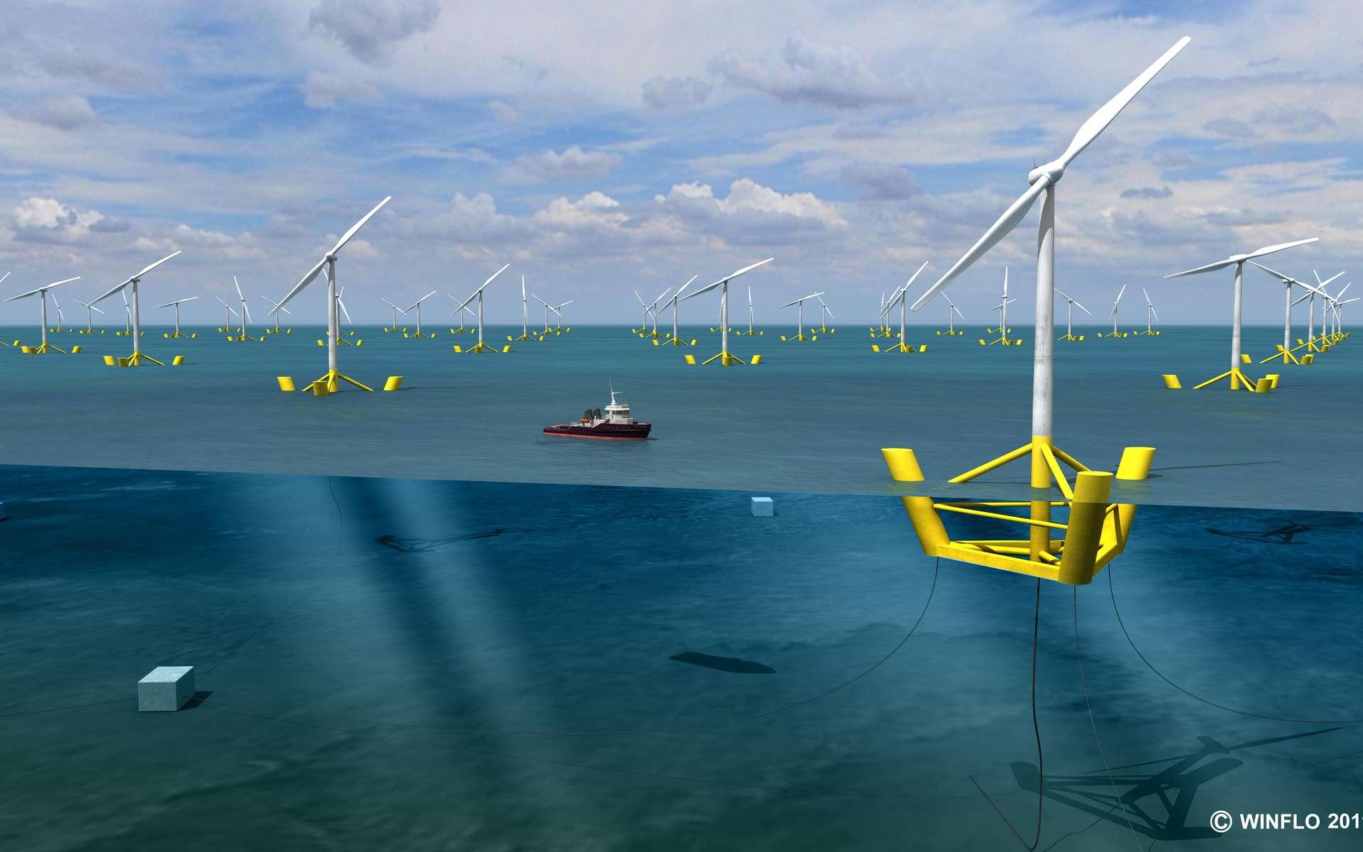 D'ici 2020, l'installation de 100 éoliennes Winflo au large de la Bretagne, ce qui représenterait un parc de 500 MW, pourrait fournir 10 % des besoins énergétiques de cette région. © Winflo, 2011