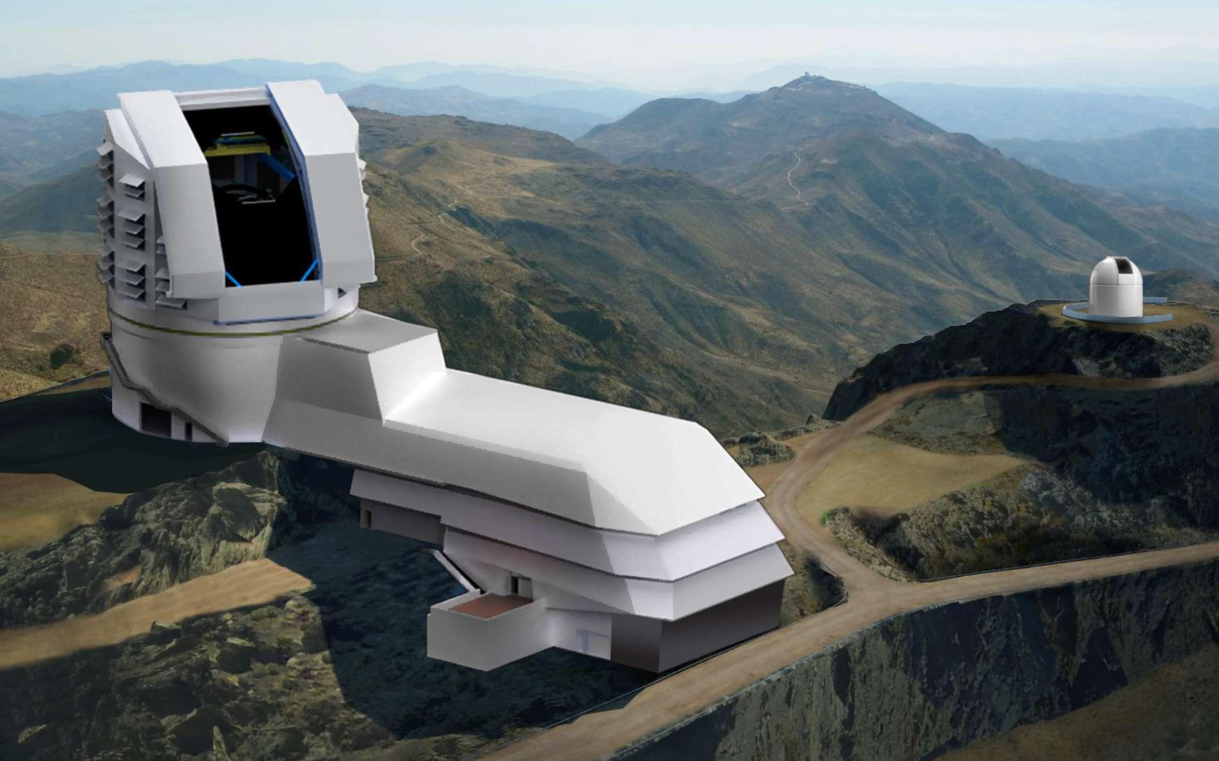 Vue d'artiste du LSST lorsqu'il sera construit. Ce télescope est destiné notamment à l'étude de l'énergie noire en détectant des SN Ia. Pour cela, il scannera rapidement le ciel profond, détectant les objets changeants : des supernovae aux astéroïdes orbitant près de la Terre. © LSST Corporation