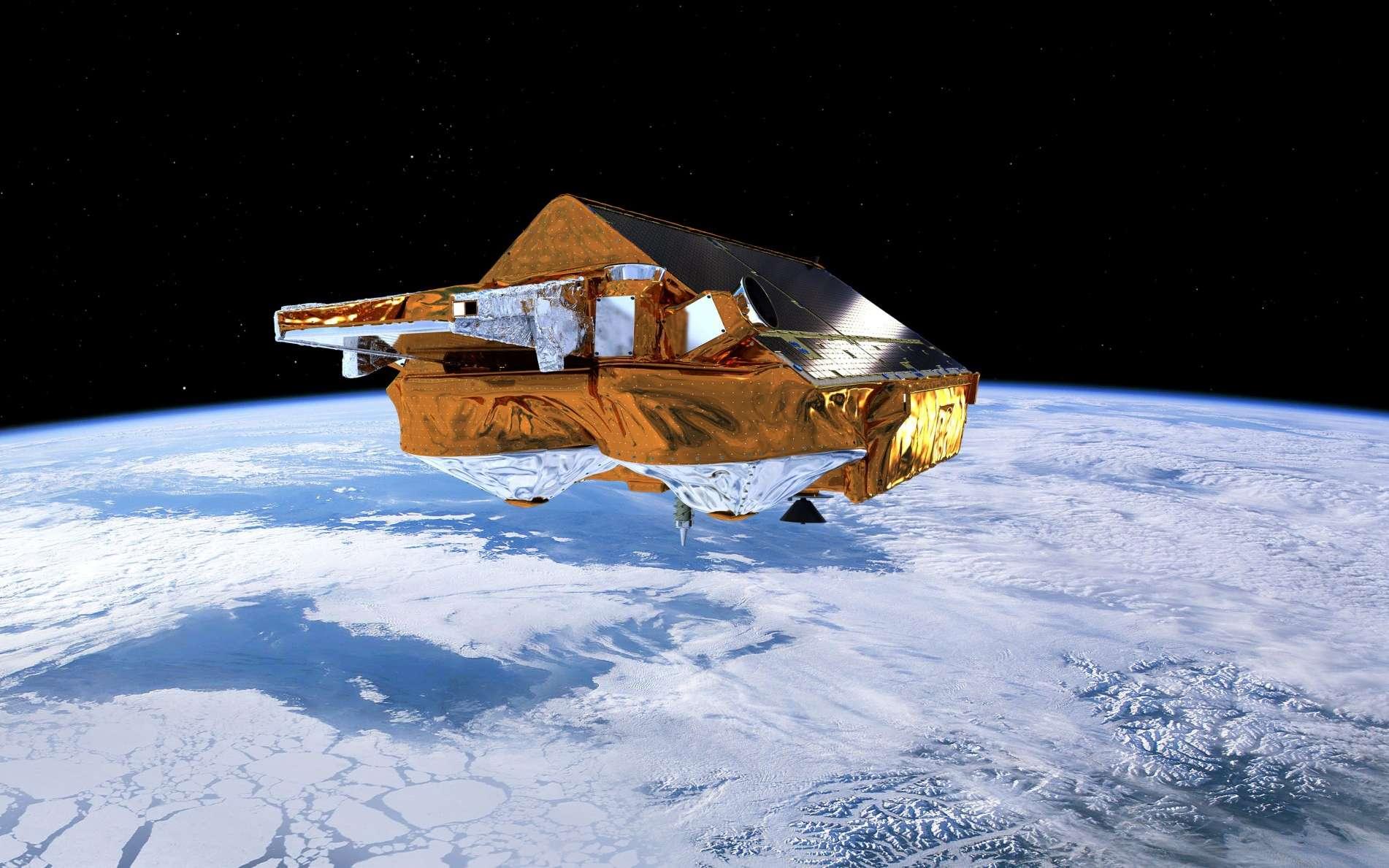 La mission principale du satellite CryoSat de l'Esa est d'étudier à partir d'une orbite polaire basse les glaces de l'Arctique et de l'Antarctique, et surtout de surveiller l'évolution de leur épaisseur. Il fournit donc des données sur le changement climatique. L'instrument principal du satellite est un radar altimétrique. © Esa, AOES Medialab