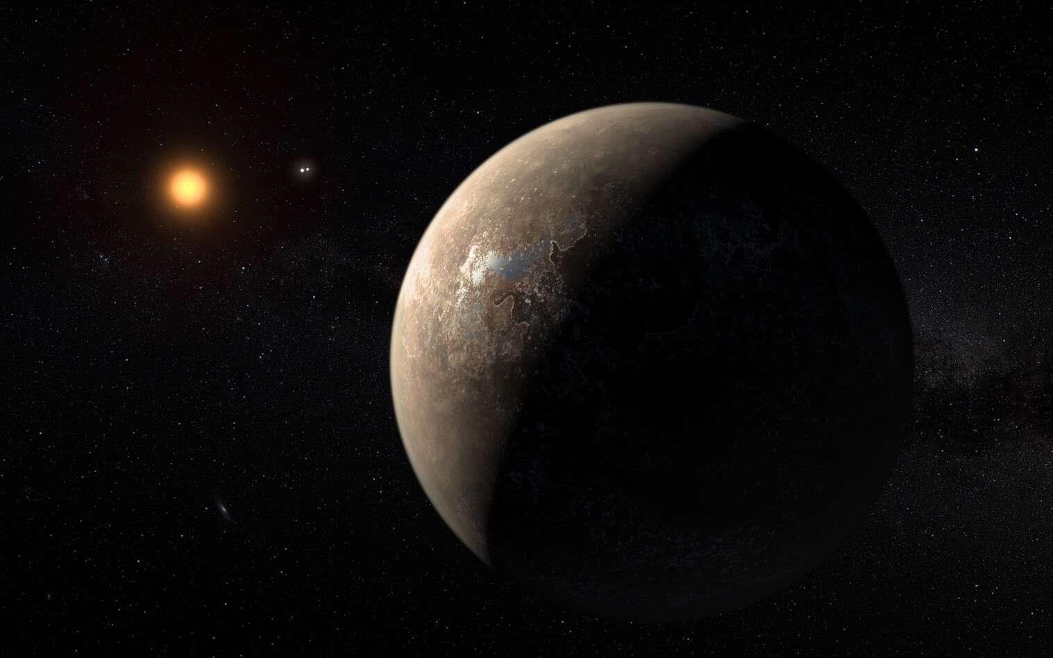 Illustration de Proxima b, l'exoplanète découverte autour de notre voisine Proxima du Centaure. © ESO, M. Kornmesser