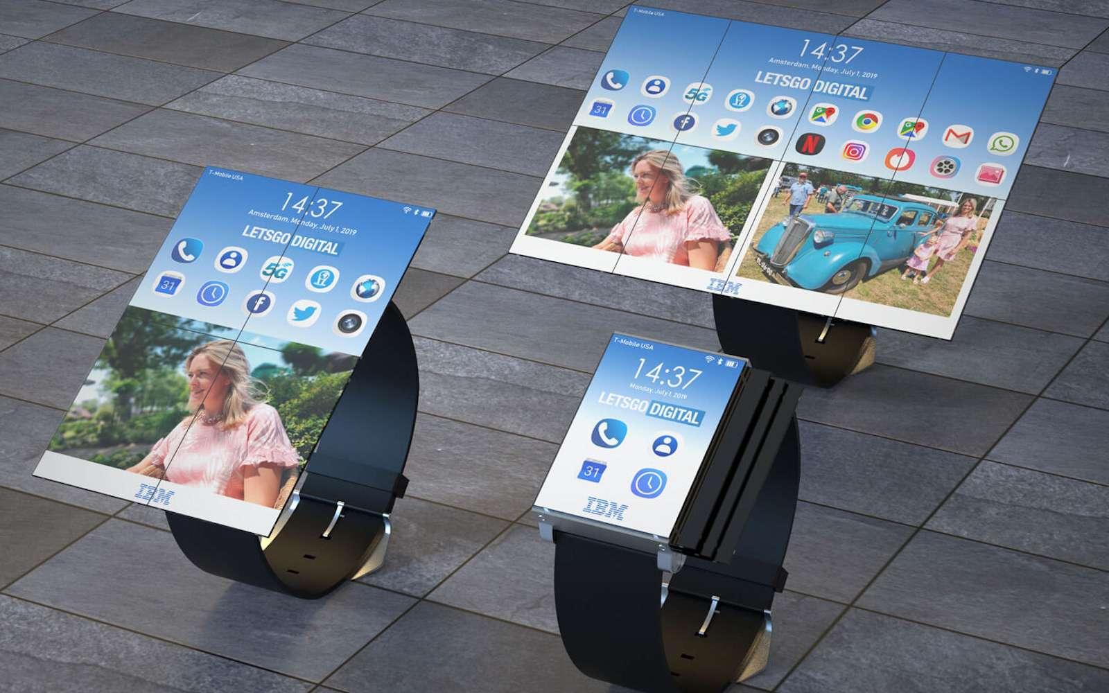Et voici la montre 3-en-1 qui peut se transformer en smartphone ou en tablette grâce à de petits panneaux Oled. © IBM