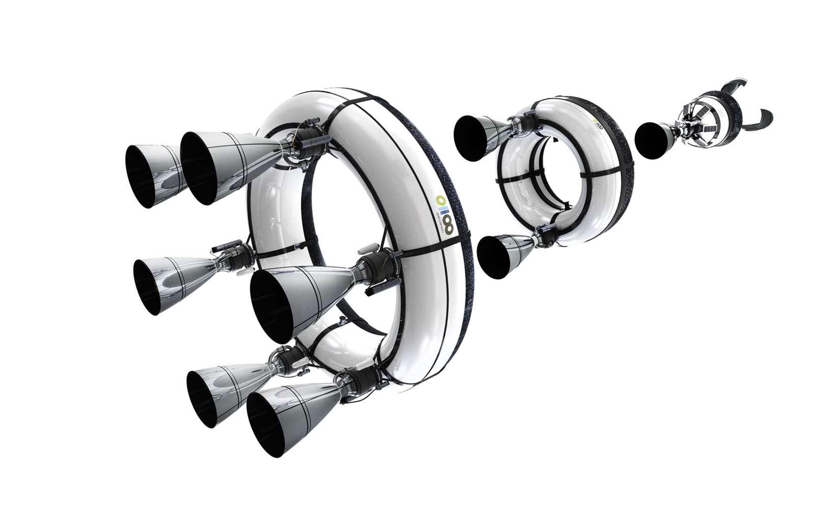 Le lanceur Bloostar et ses trois étages totalisant neuf moteurs identiques. © Zero2infinity