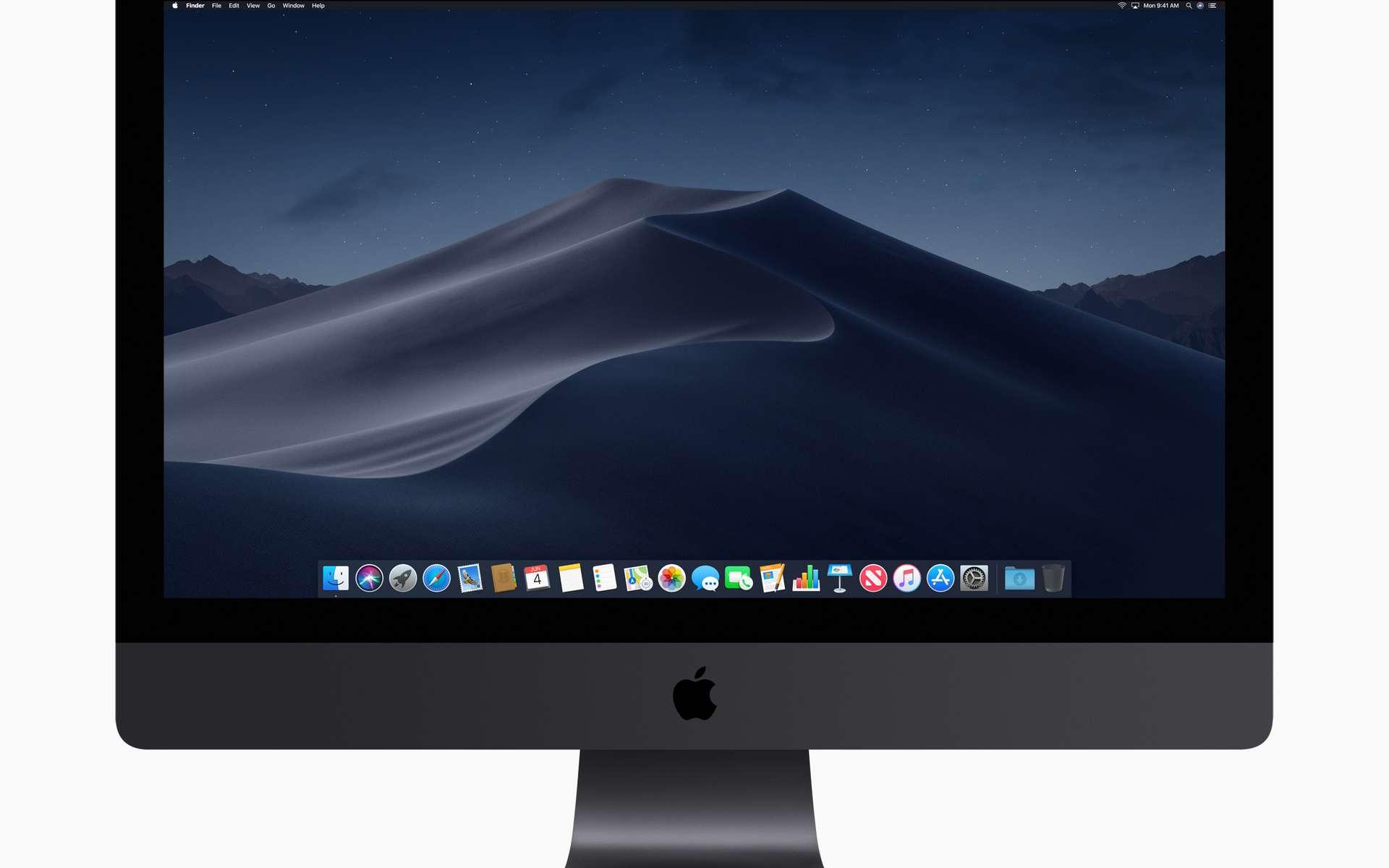 Le MacOS Mojave et son bureau en mode sombre. © Apple