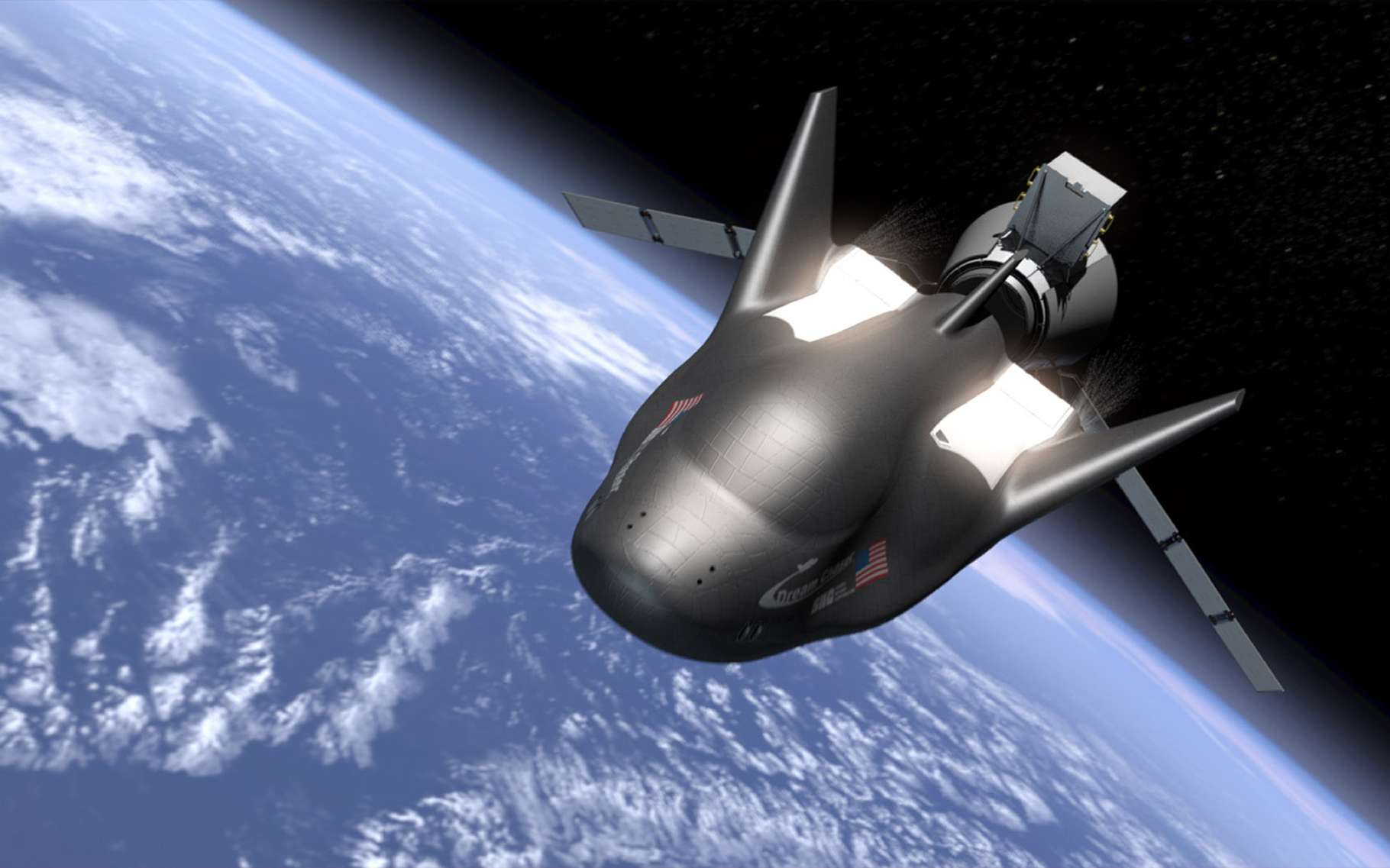 Le Dream Chaser dans sa version transport de fret pour répondre aux besoins de la Nasa pour la fourniture d'un service de fret à destination et en provenance de la Station spatiale internationale. © Sierra Nevada