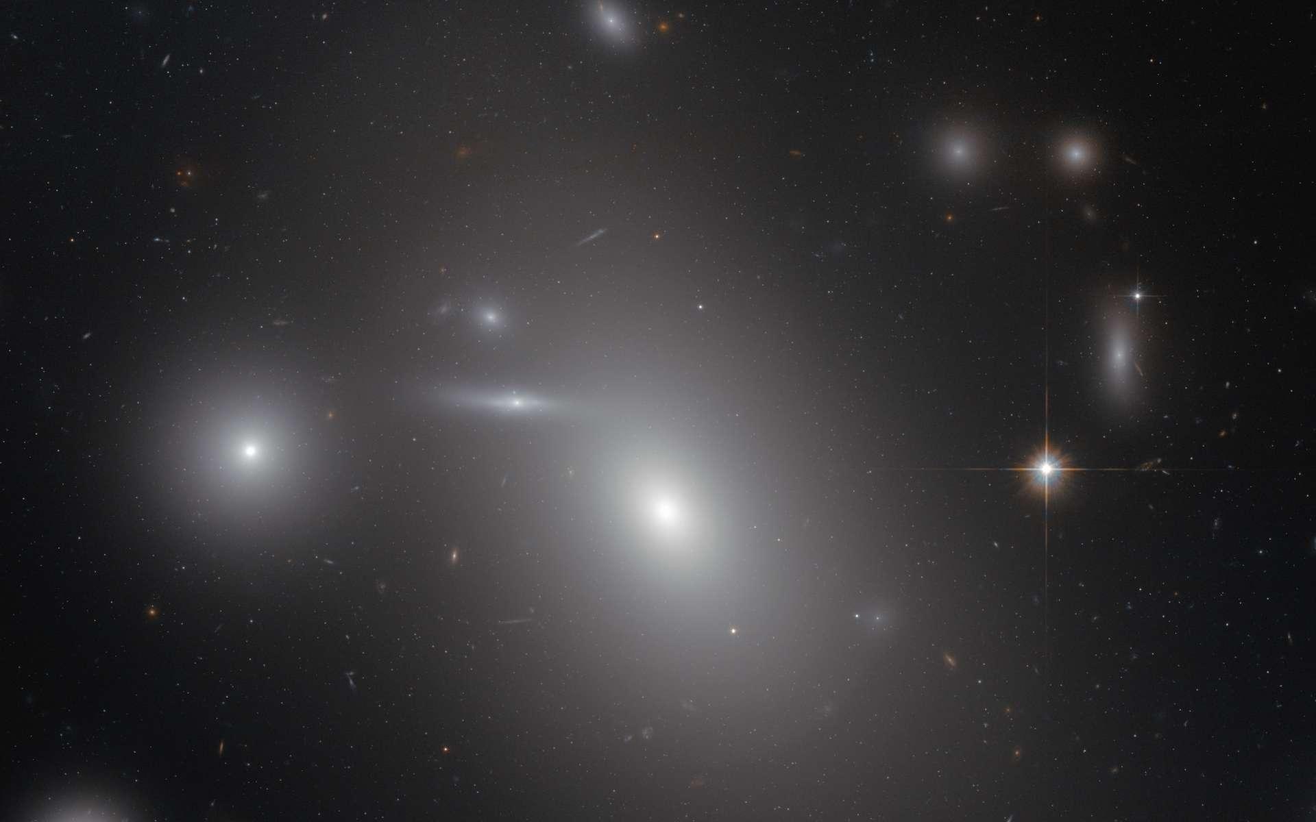 Découverte en 1785 par William Hershel, NGC 4889 est une galaxie elliptique supergéante. Située à seulement 300 millions d'années-lumière dans l'amas de la Chevelure de Bérénice (Coma cluster), elle cache, parmi les centaines de milliards d'étoiles qui la peuplent, un trou noir supermassif de 21 milliards de masses solaires (l'un des plus massifs connus, si ce n'est le plus gros). © Nasa, Esa