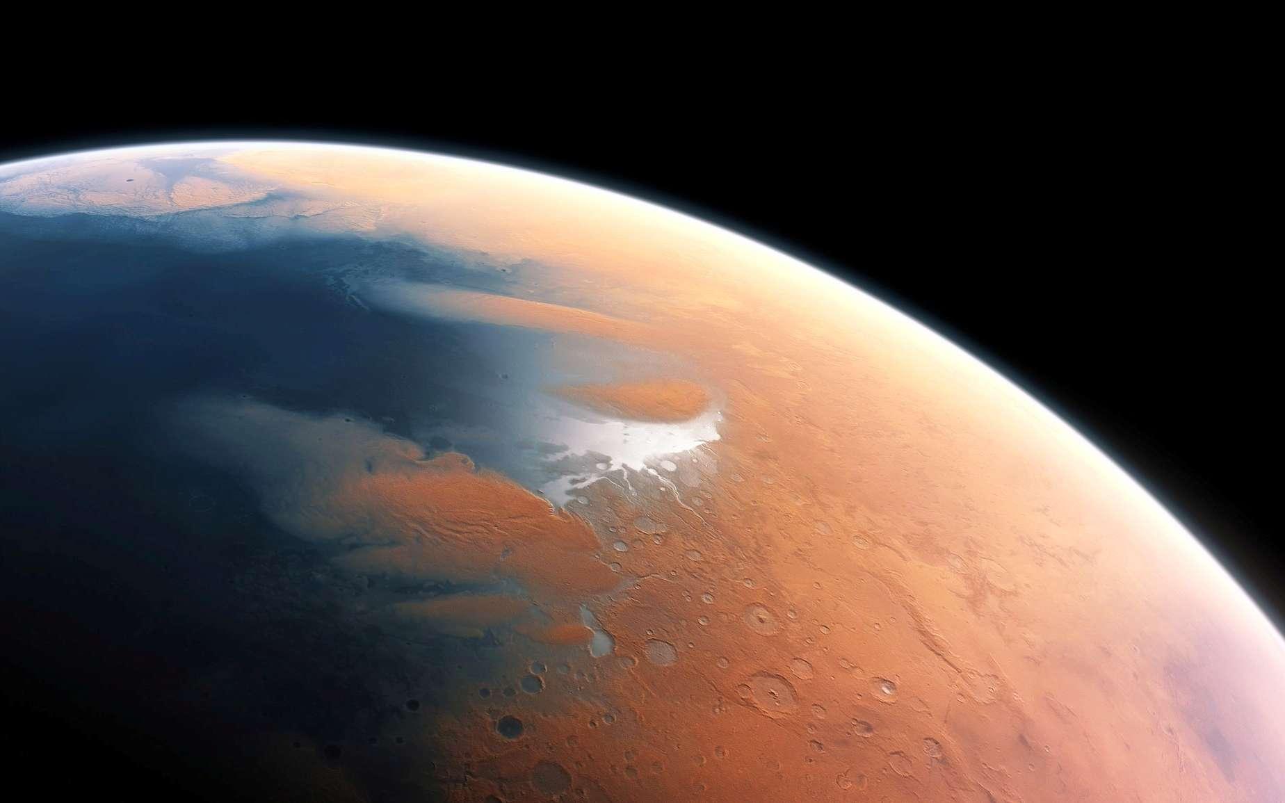 Cette illustration suggère l'environnement humide de Mars voici 4 milliards d'années. La toute jeune planète devait renfermer suffisamment d'eau liquide pour que l'intégralité de sa surface en soit couverte, sur une hauteur d'environ 140 m. Il semble plus probable toutefois que l'eau liquide se soit constituée en un océan occupant près de la moitié de l'hémisphère nord de la planète. En certaines régions, sa profondeur pouvait dépasser 1,6 km. © ESO, M. Kornmesser