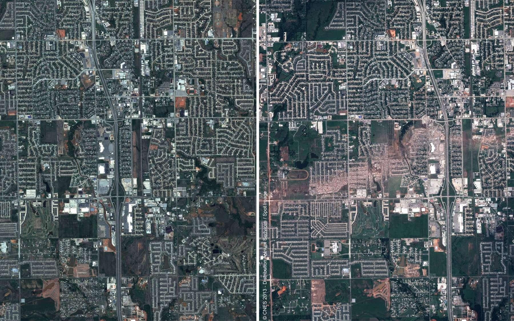 La ville de Moore avant et après le passage de la tornade géante le 20 mai. Chaque image représente une surface de six à sept kilomètres de côté. © Cnes, Distribution Astrium Services, Spot Image, 2013