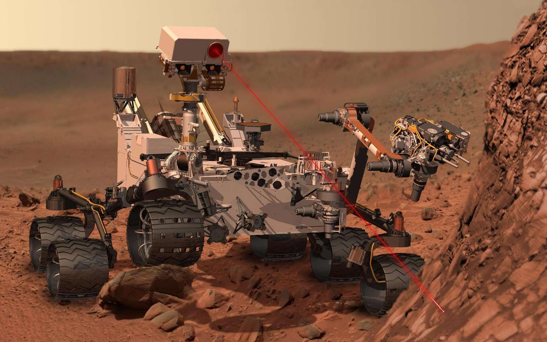 Illustration d'un tir laser effectué par la ChemCam de Curiosity. L'instrument permet d'analyser à distance la composition des roches visées. Grâce à cette opération, le rover a pu détecter de l'oxyde de manganèse. Il a ainsi permis de déduire que l'atmosphère de Mars était plus riche en oxygène dans le passé qu'aujourd'hui. © Nasa