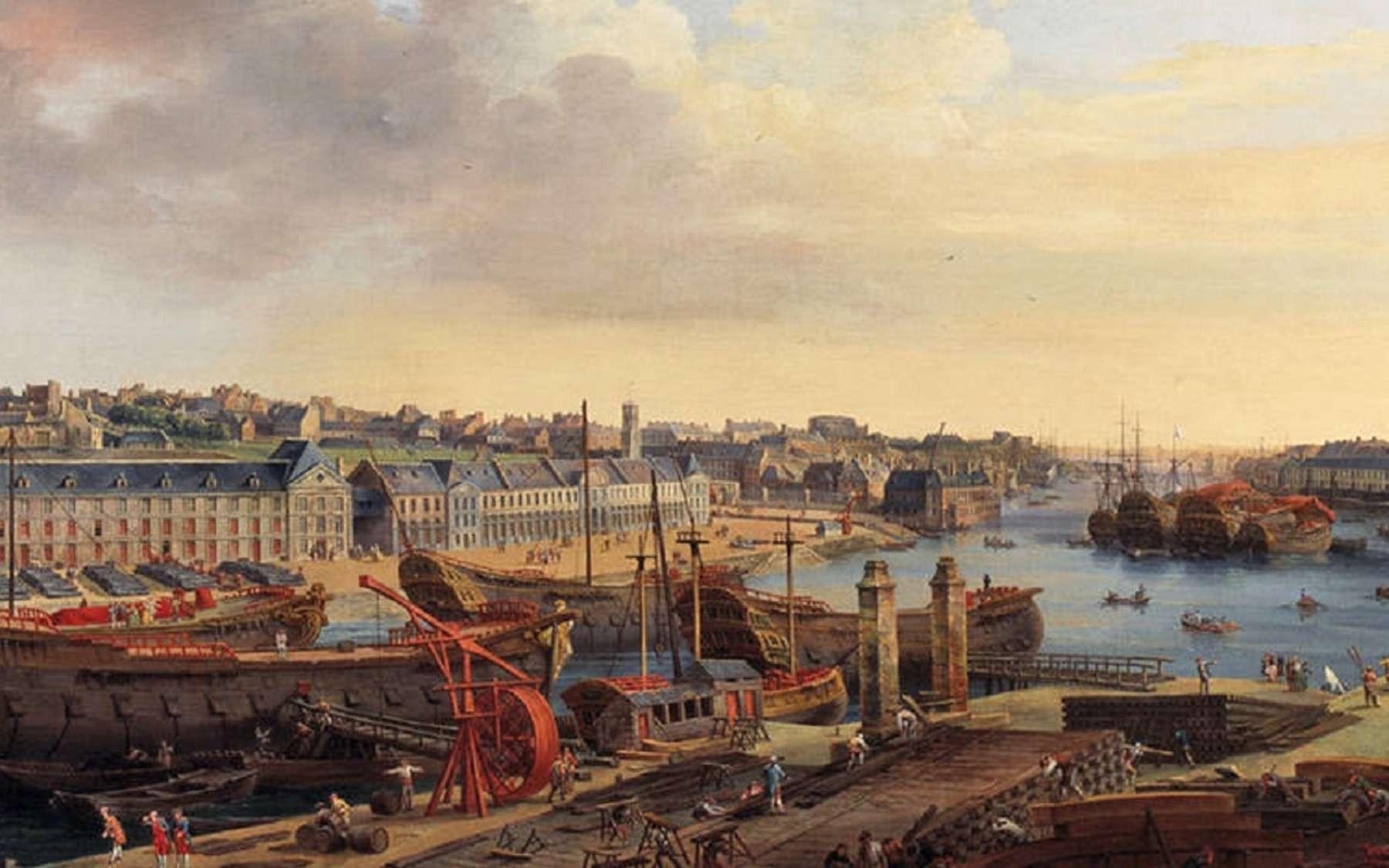 Vue du port de Brest en 1774, tableau de Louis-Nicolas van Blarenberghe. © Musée des Beaux-Arts de Brest Métropole Océane, domaine public