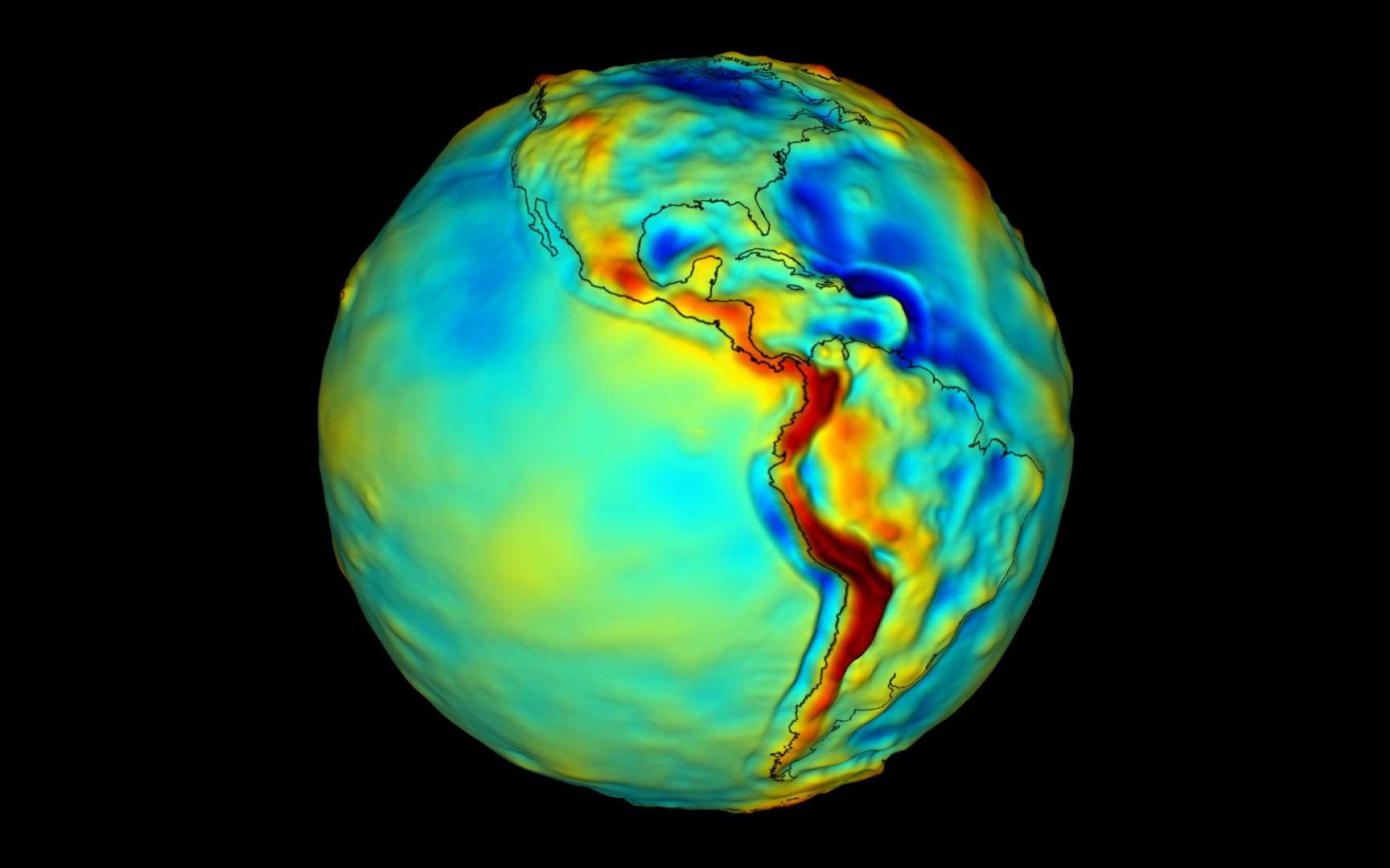 Carte de gravité de la Terre. © Nasa
