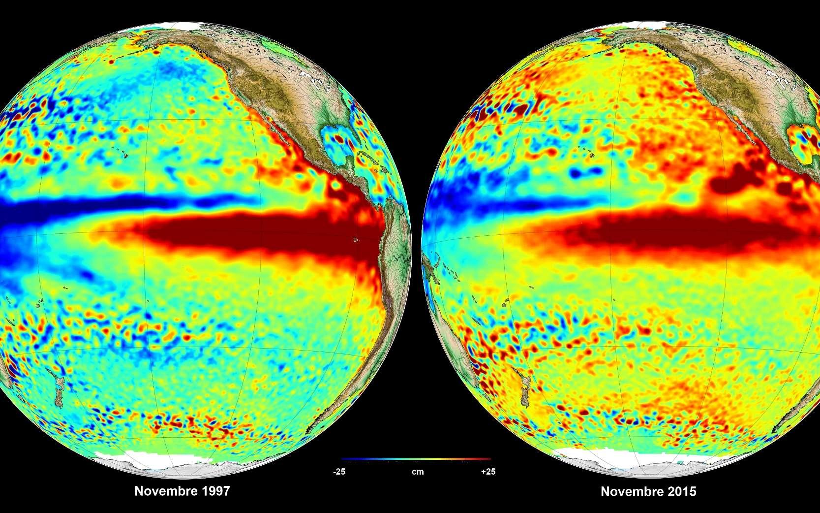 À gauche, El Niño en 1997 (ceinture d'eaux plus chaudes que la moyenne dans le Pacifique). À droite, El Niño en 2015, le plus puissant depuis celui de 1997. © Aviso, Cnes, CLS 2015