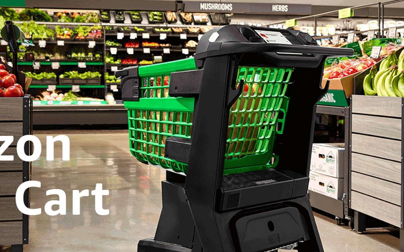 Le nouveau Dash Cart d'Amazon est un chariot de courses qui scanne automatiquement les articles. © Amazon