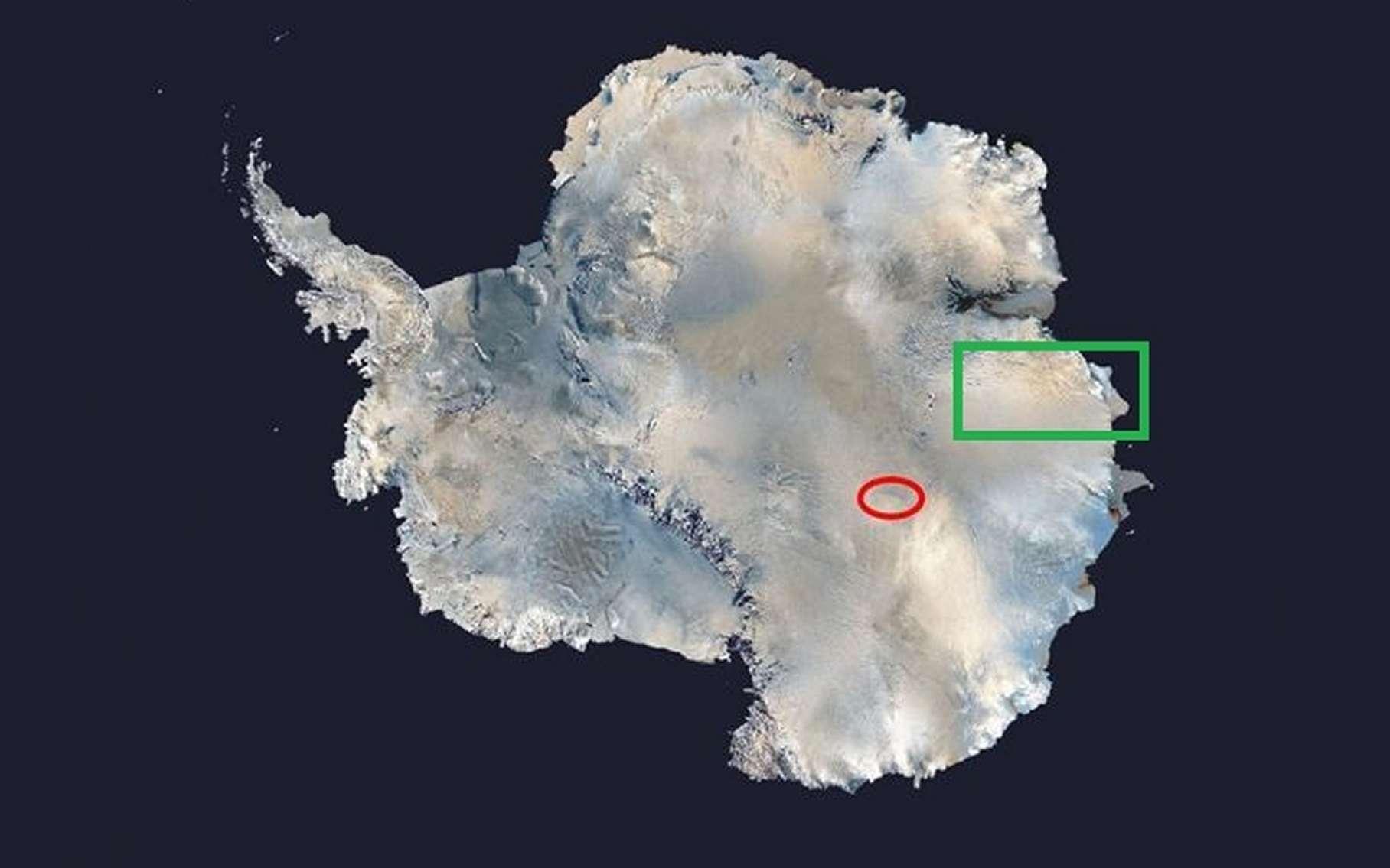L'ellipse rouge situe la position du lac Vostok, 4.000 mètres sous la glace. Un autre lac et un réseau de canyons taillés dans le socle rocheux existerait plus près de la côte, à l'est (dans la direction de l'Australie), quelque part dans le rectangle vert. © Nasa, Futura-Sciences