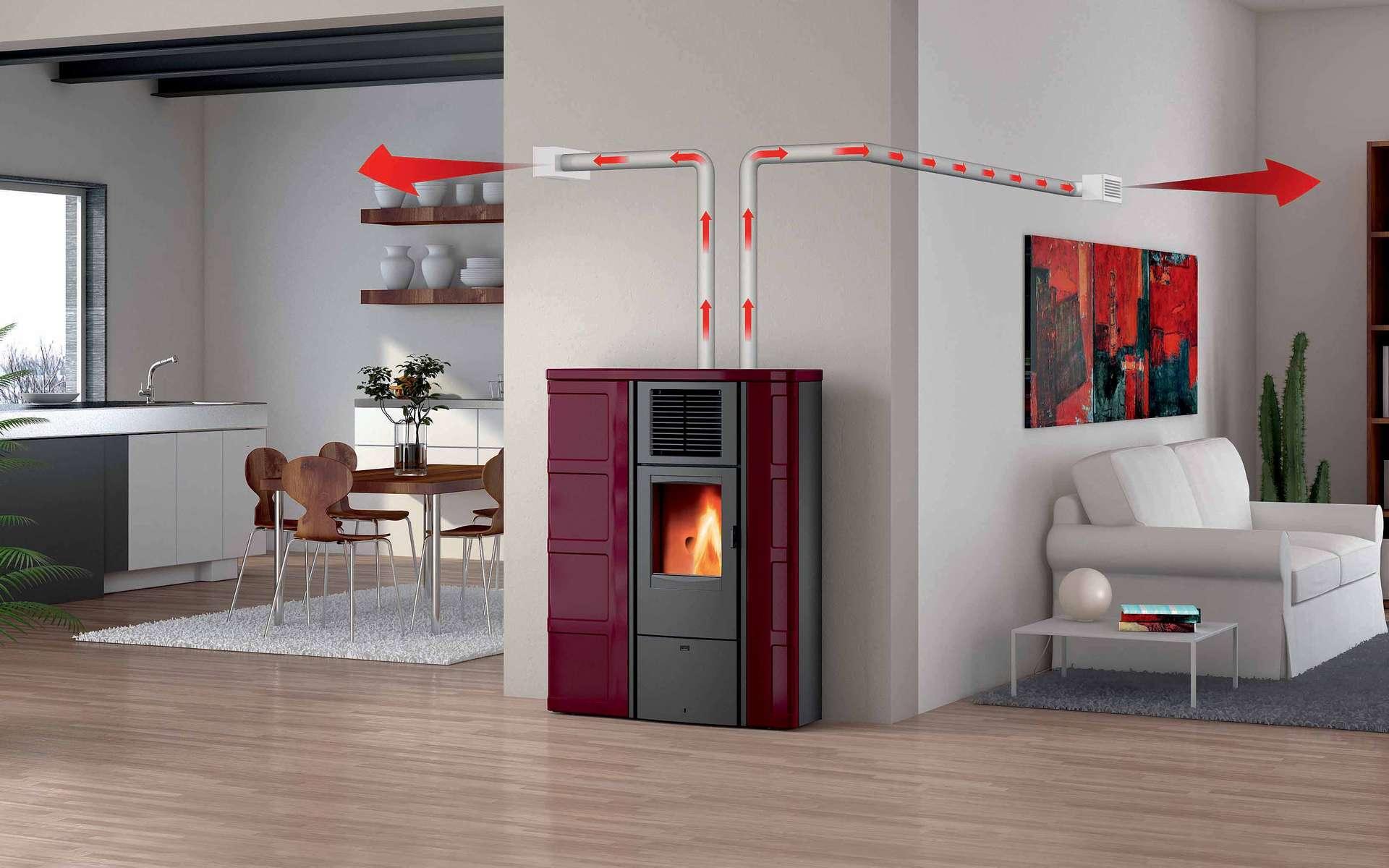 Suivant la puissance de ventilation, les gaines de distribution peuvent transporter l'air chaud sur une distance maximale de 5 à 8 mètres en parcours horizontal ou vertical. © Artense