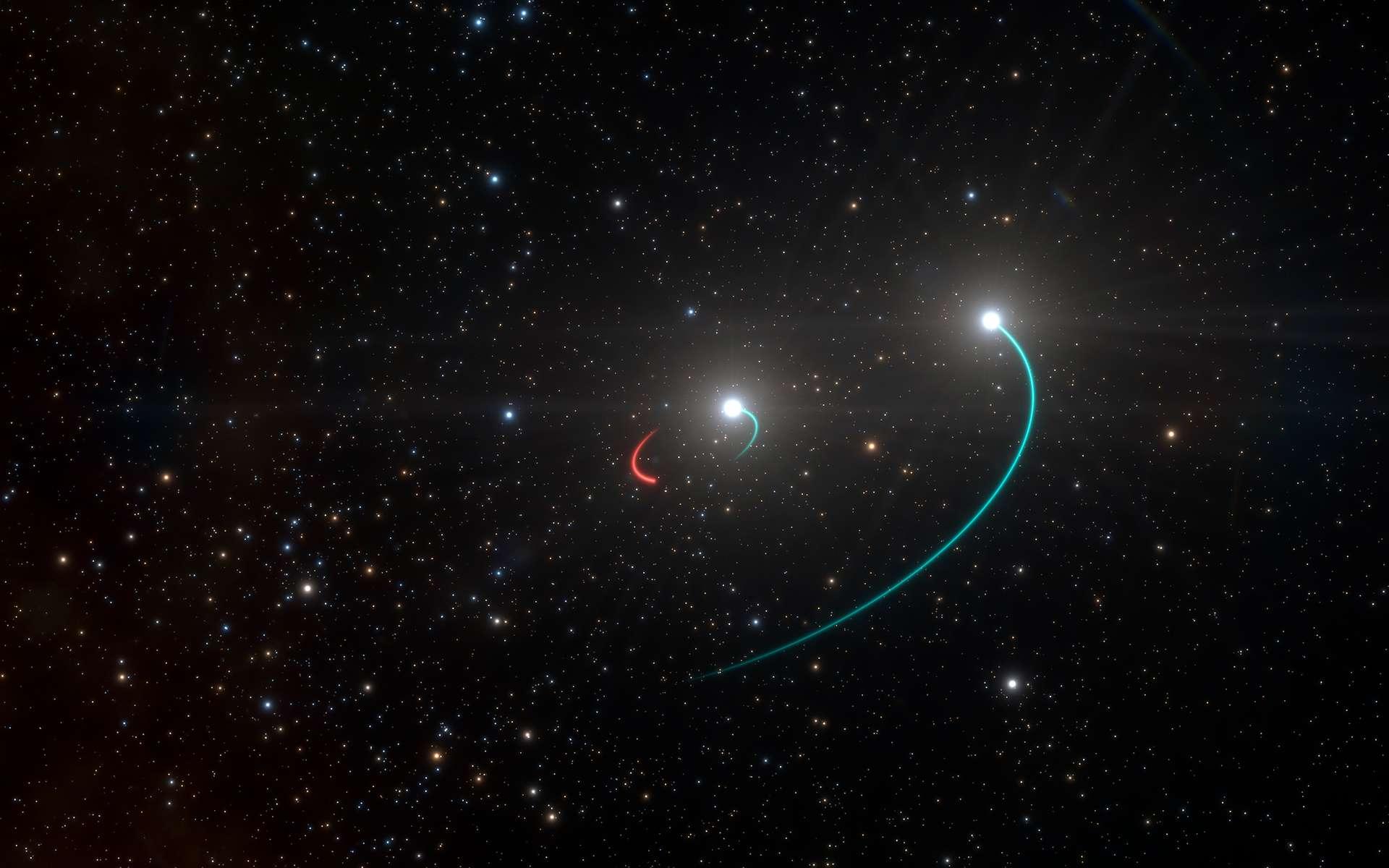 Sur cette vue d'artiste figurent les orbites des objets composant le système triple HR 6819. Ce système est constitué d'une binaire interne dotée d'une étoile (trajectoire de couleur bleue) et d'un trou noir récemment découvert (trajectoire de couleur rouge), ainsi que d'une troisième étoile décrivant une orbite plus étendue (également de couleur bleue). © ESO, L. Calçada
