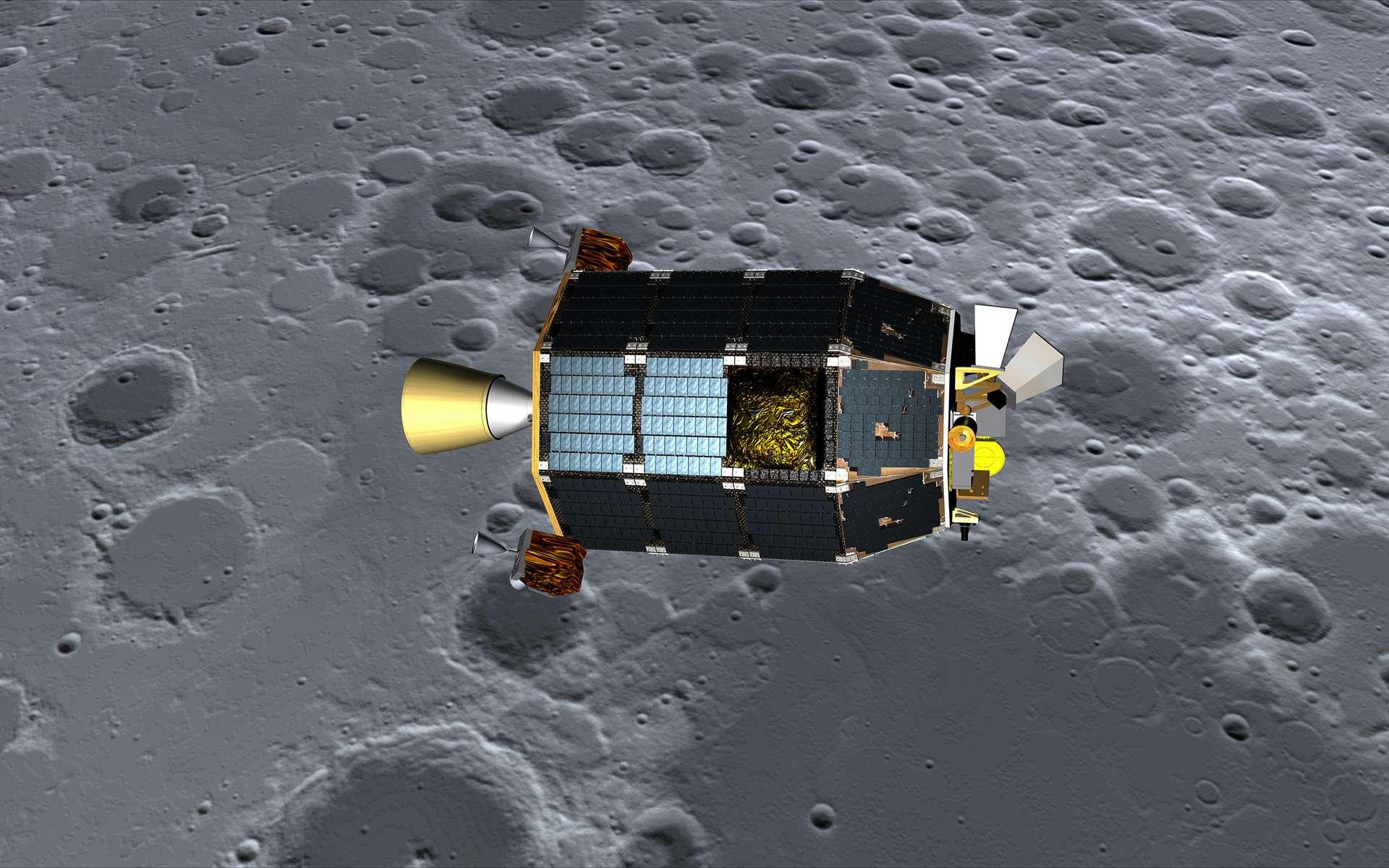 Une vue d'artiste de la sonde Ladee autour de la Lune. © Nasa/Ames/Dana Berry