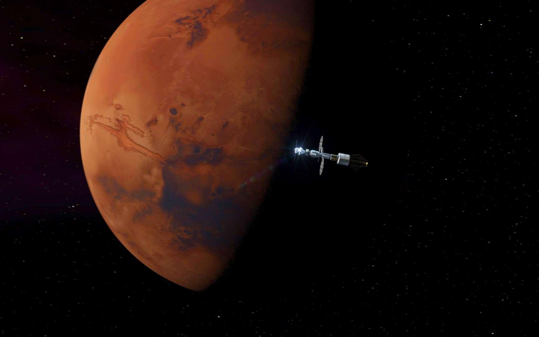 Vue d'artiste du Deep Space Transport (DST) de la Nasa. Ce véhicule, assemblé en orbite cislunaire, fera le voyage de la Lune à Mars. © Nasa