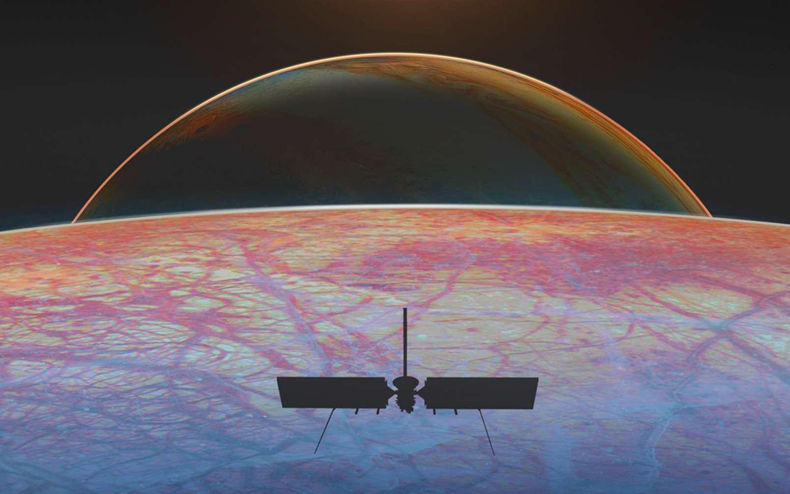 Une vue d'artiste de la mission Europa Clipper qui devrait être lancée au cours de cette décennie à destination d'Europe, la lune de Jupiter. © Nasa, Jet Propulsion Laboratory-Caltech