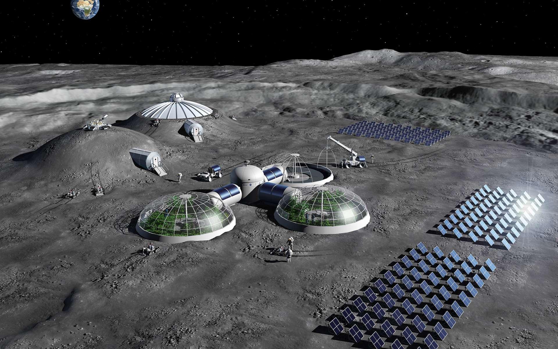Concept de base lunaire étudié par l'Agence spatiale européenne. © ESA, P. Carril