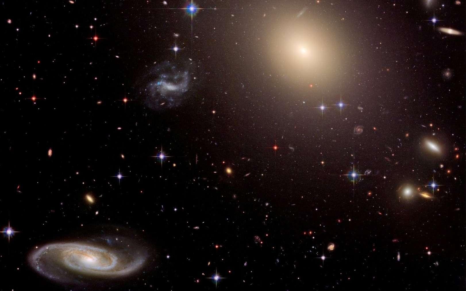 Une collection de galaxies au sein de l'amas Abell S0740, à plus de 450 millions d'années-lumière de la Terre, vue par Hubble. Occupant le centre de l'amas, la géante elliptique ESO 325-G004 est entourée de milliers d'amas globulaires, chacun composé de centaines de milliers d'étoiles liées entre elles par la gravité. Cette image a été construite avec des observations de 2005 et de 2006. © Nasa, ESA, and The Hubble Heritage Team (STScI/AURA)