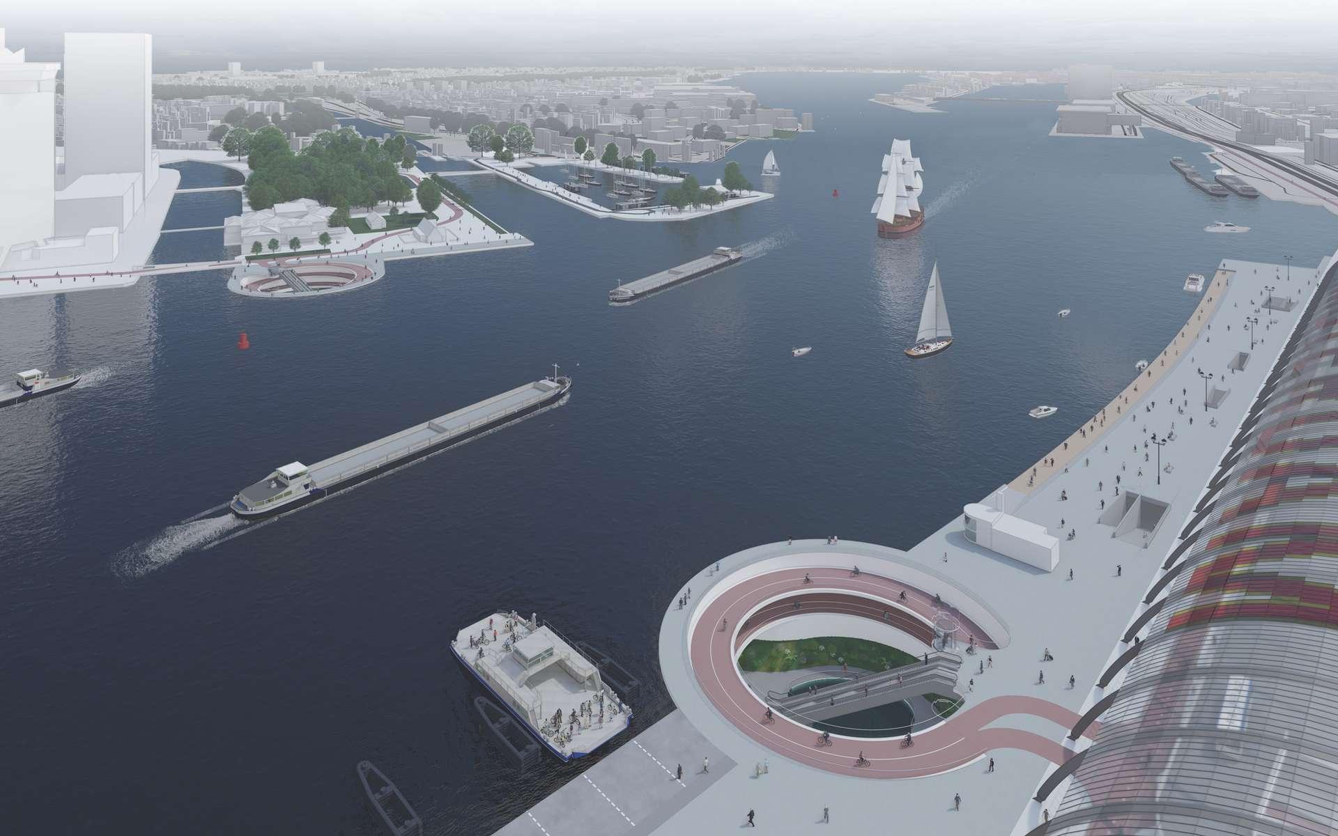 Le projet fou d'une piste cyclable sous le lac IJ à Amsterdam. © Courtesy of Syb van Breda & Co