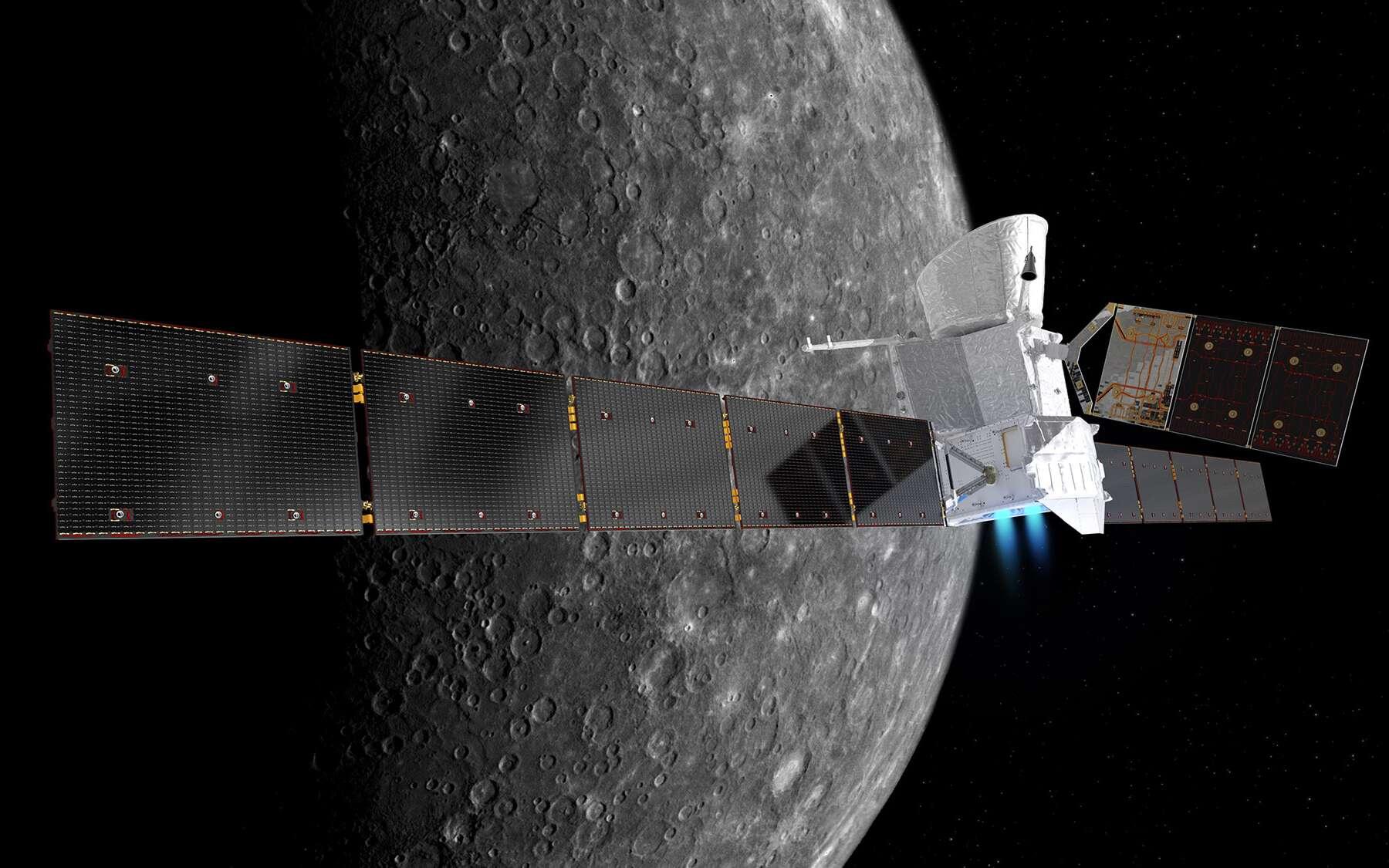 Vue d'artiste de la sonde BepiColombo avant que les modules qui la composent se séparent pour réaliser leur mission. © BepiColombo : ESA/ATG medialab / Mercure : NASA/JPL