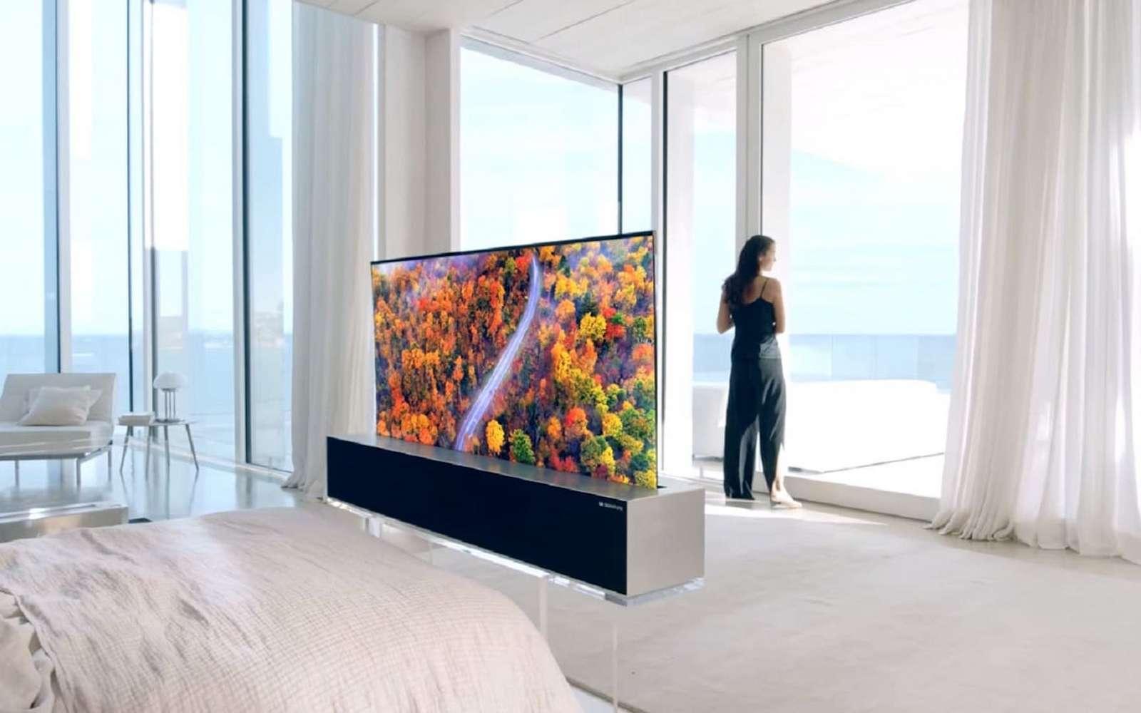 Meuble Tv Grande Taille le téléviseur enroulable de lg fait le show à las vegas