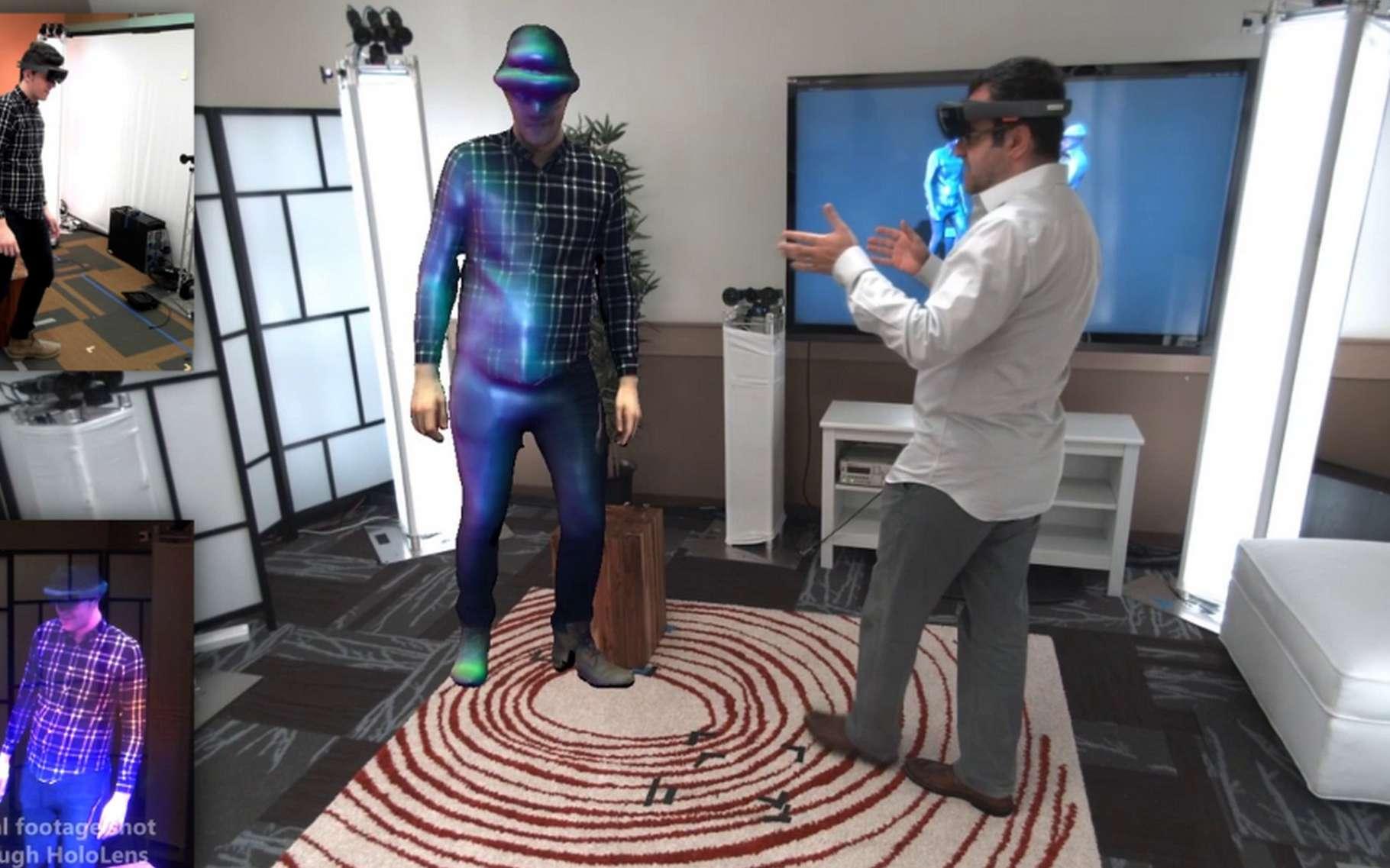 Le dispositif Holoportation développé par Microsoft fonctionne à partir de caméras 3D disséminées dans une pièce et d'un casque HoloLens ou Vive (HTC) pour visualiser l'avatar de la personne avec laquelle on converse. © Microsoft Research