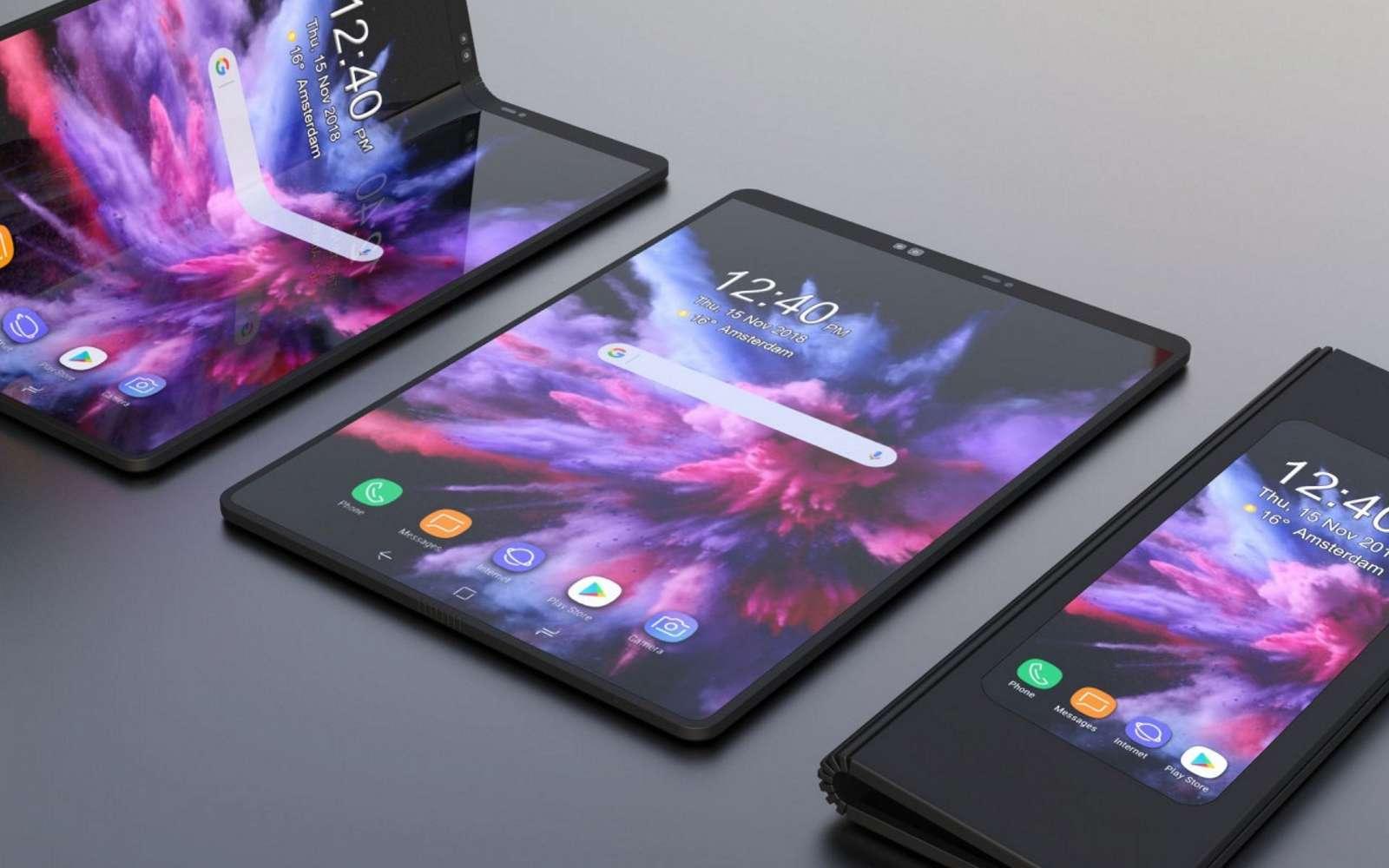 Samsung serait en train de développer un autre smartphone pliable avec un pliage horizontal et non plus vertical. © Samsung