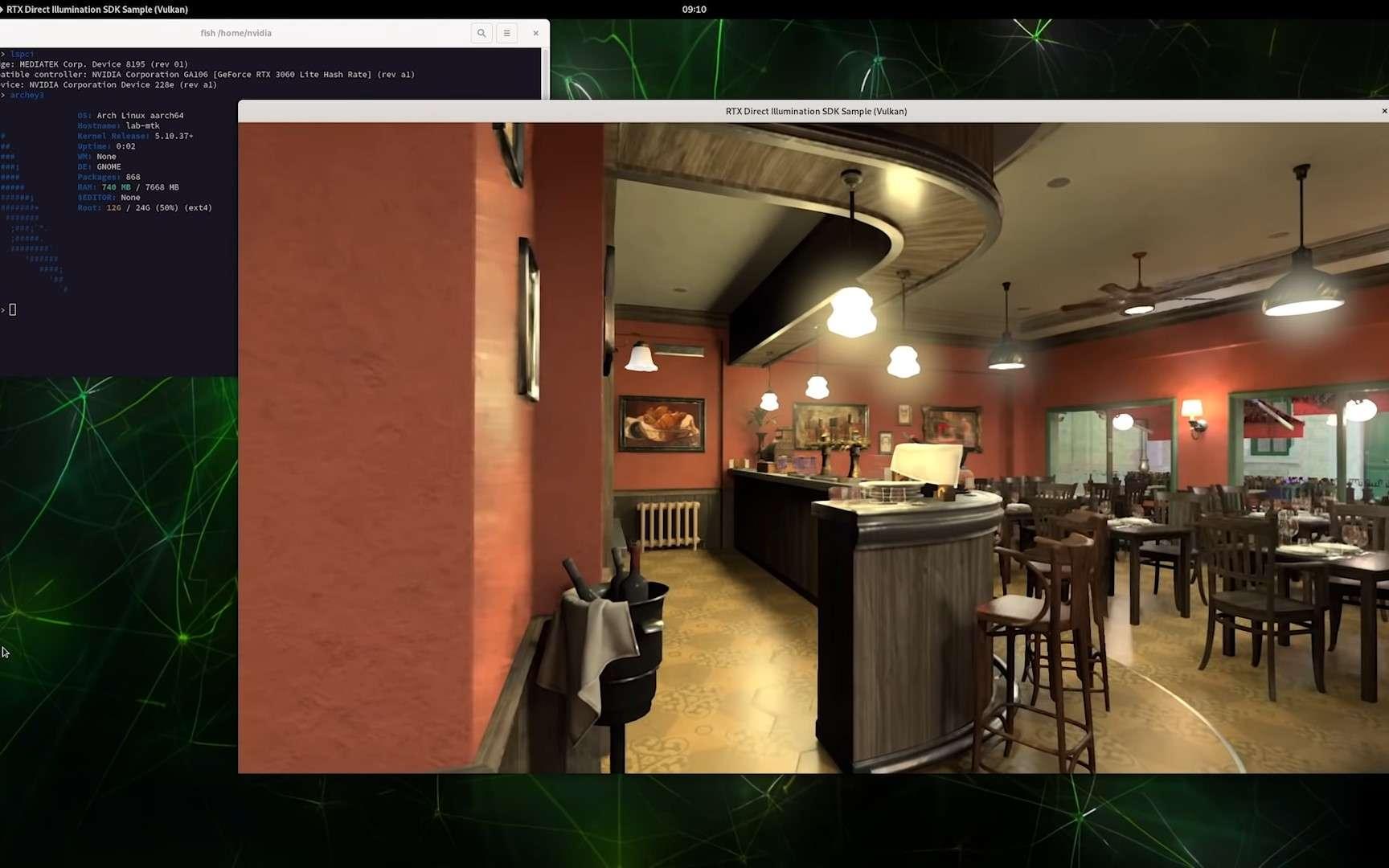 Cette scène de The Bistro est rendue possible grâce au ray tracing sur une machine avec un processeur ARM. © Nvidia