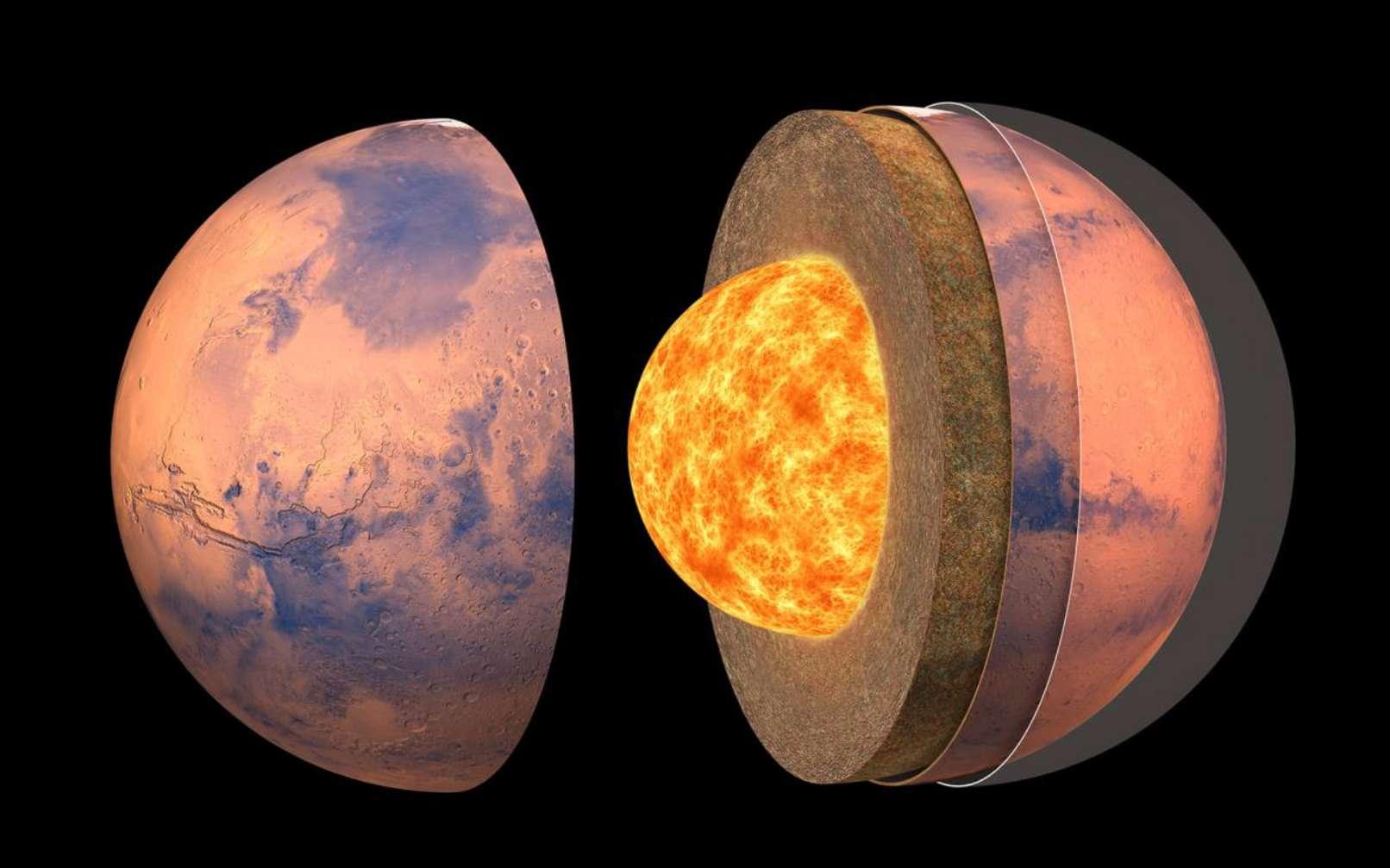 Vue d'artiste de la structure interne de Mars. © IPGP, David Ducros