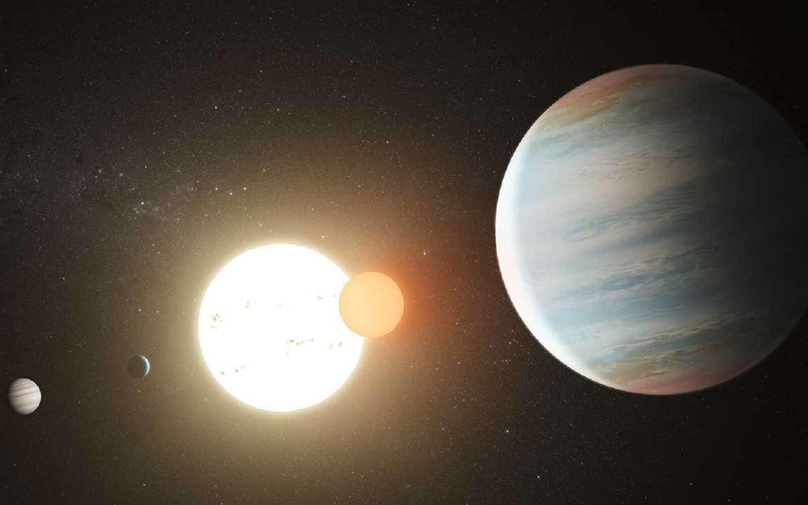 Vue d'artiste des trois exoplanètes en orbite autour de l'étoile double Kepler 47. © Nasa/JPL Caltech/T. Pyle