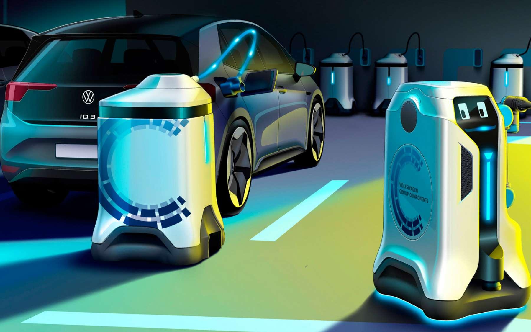 ici, des robots autonomes qui, Selon le constructeur automobile Volkswagen, pourront transformer n'importe quel parking en station de recharge pour véhicule électrique. © Volkswagen