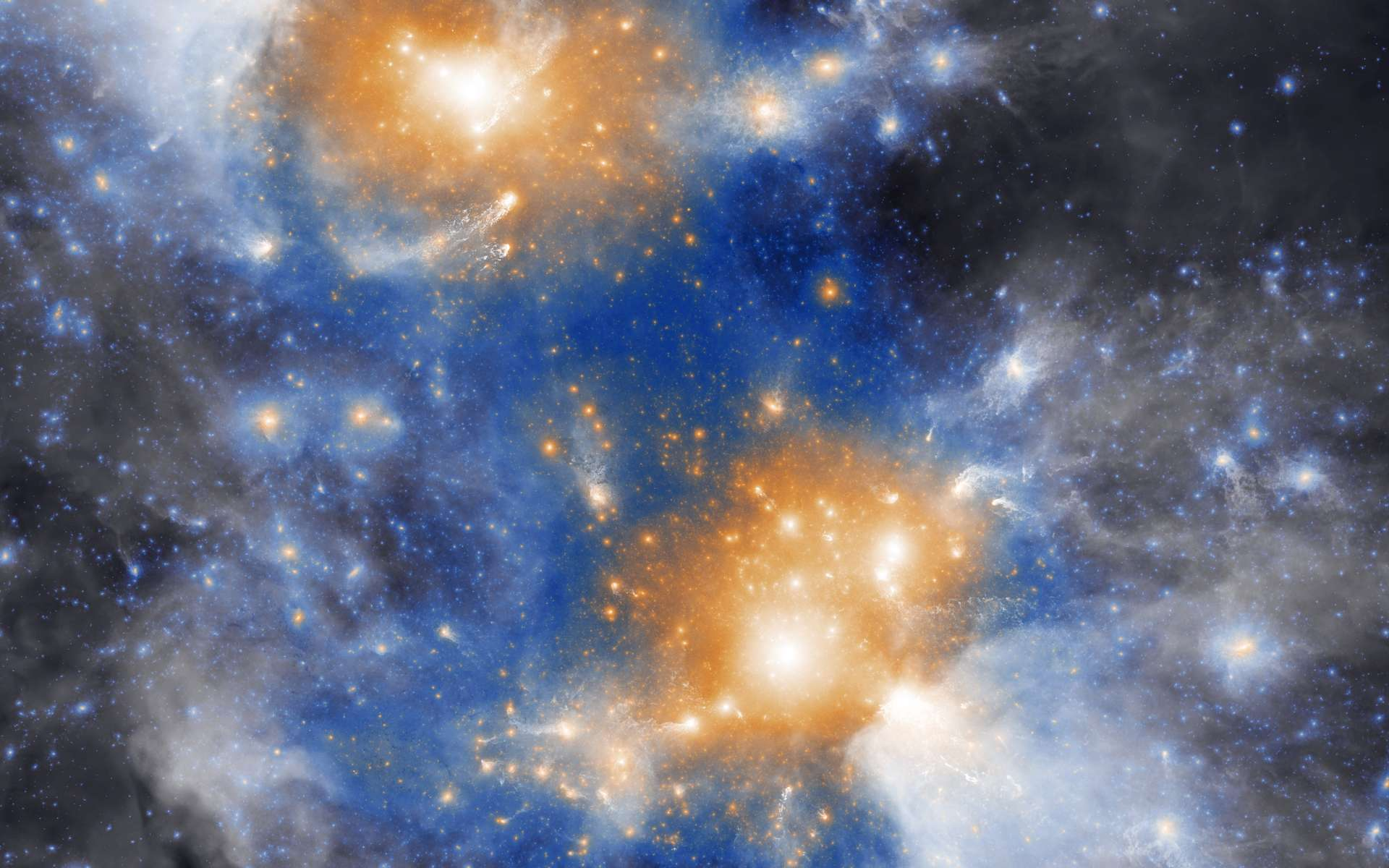 Simulation de deux proto-amas de galaxies dans TNG50. © TNG Simulations