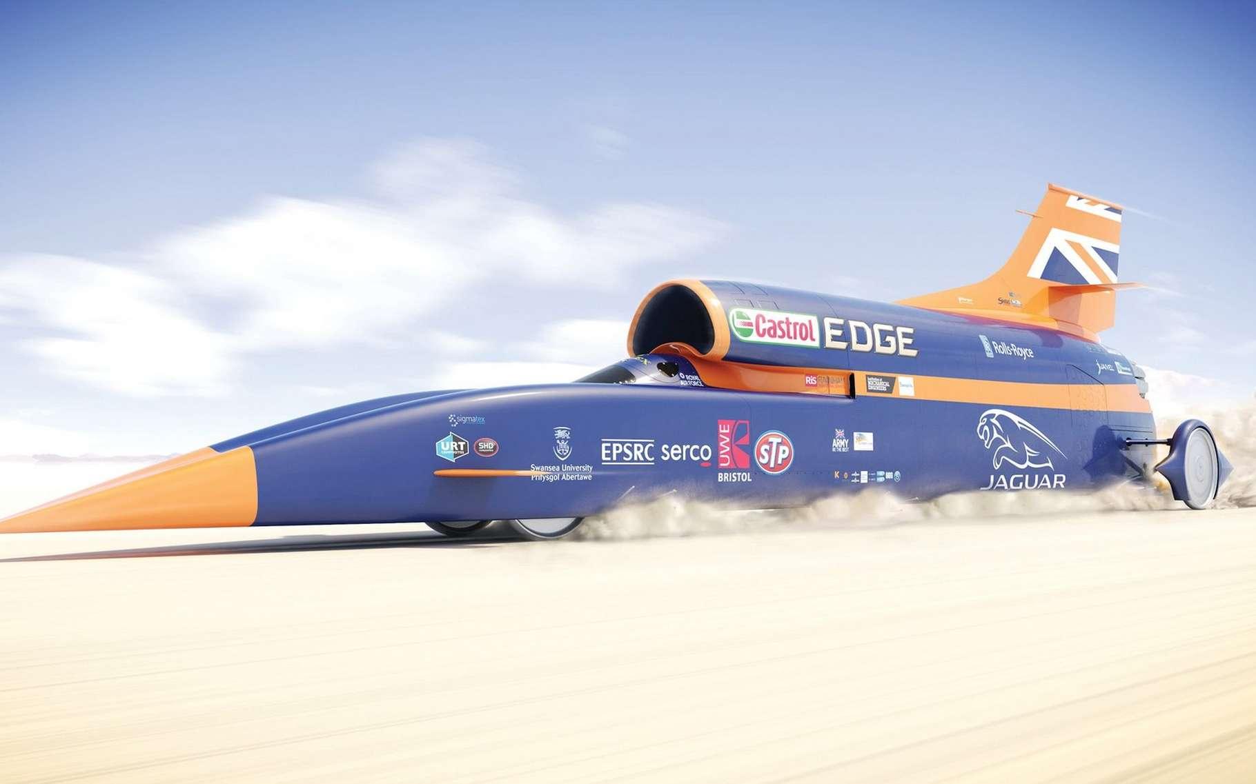 La voiture supersonique Bloodhound SSC est propulsée par un moteur d'avion de chasse Eurofighter Typhoon. © Bloodhound SSC