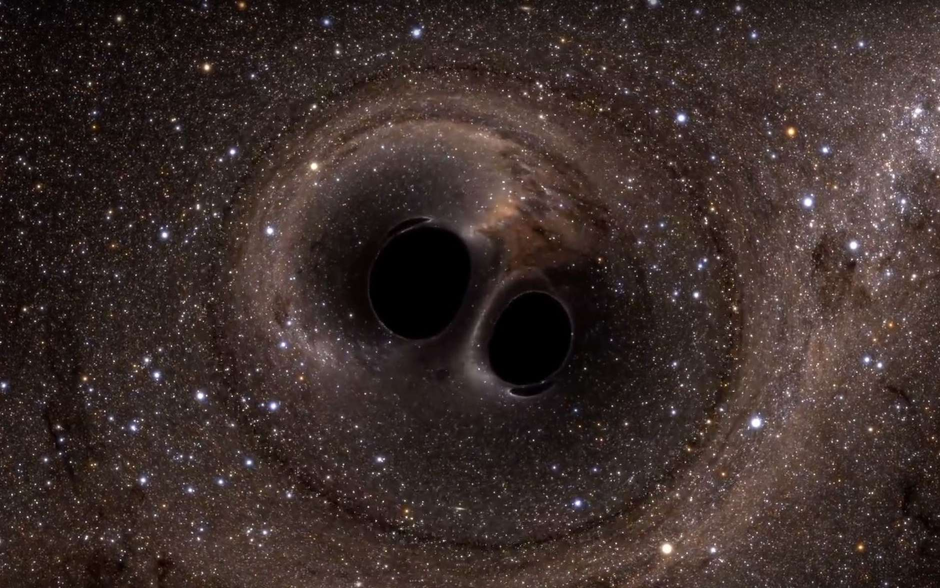 Est-ce que les trous noirs qui ont fusionné à 1,3 milliard d'années de la Terre et qui ont été détectés par Ligo en septembre 2015 étaient des trous noirs primordiaux? C'est possible et dans ce cas, nous devrions observer d'autres cas similaires. © Nasa