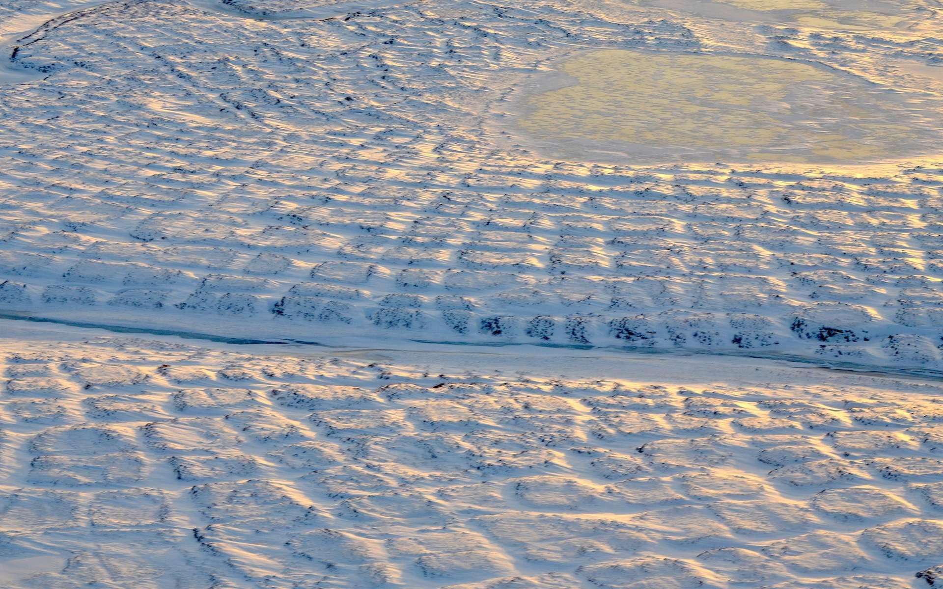 Vue aérienne de la toundra dans le nord de l'Alaska en novembre 2015. © Nasa, JPL-Caltech, Charles Miller
