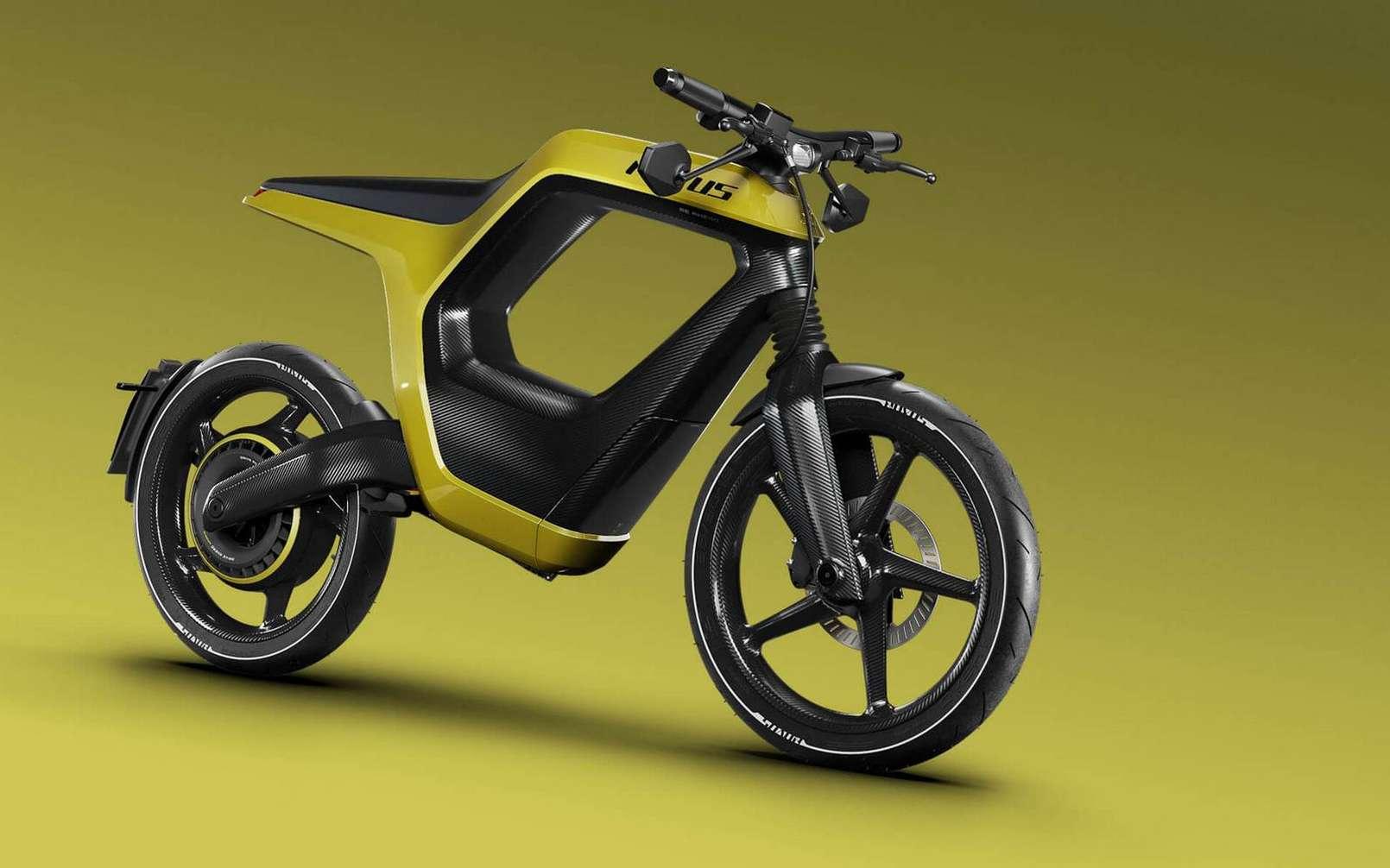 La moto électrique Novus est intégralement en fibre de carbone. © Novus