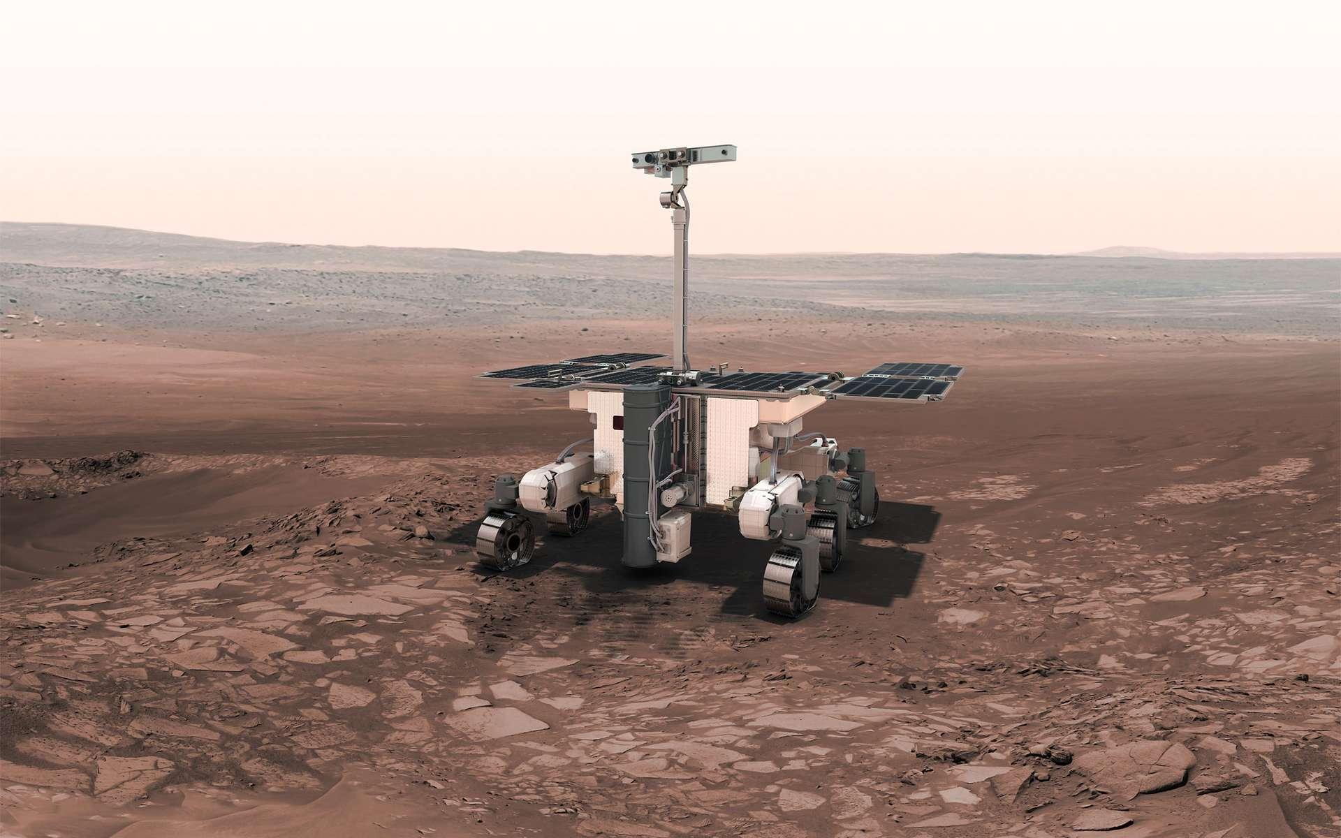 ExoMars et ses 300 kg ne se poseront sur Mars qu'en 2021. Ce report de deux ans ne remet pas en cause les objectifs scientifiques de la mission qui devraient nous aider à mieux comprendre l'apparition de la vie sur Terre il y a quatre milliards d'années, période à laquelle Mars s'est éteinte. © Agence spatiale européenne