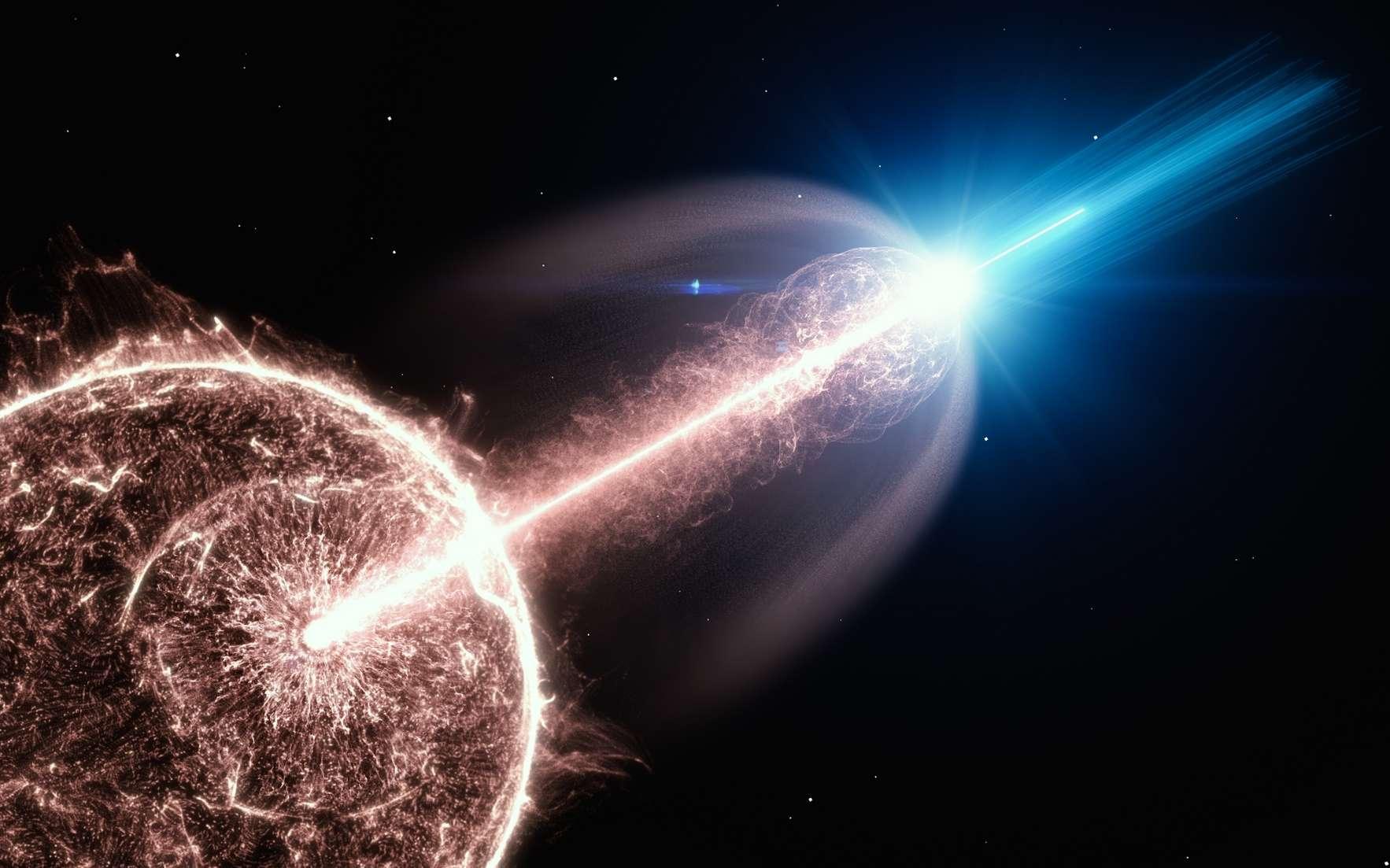 Vue d'artiste d'un jet relativiste d'un sursaut gamma (GRB), sortant d'une étoile en train de s'effondrer et émettant des photons de très hautes énergies. © DESY, Laboratoire de communication scientifique