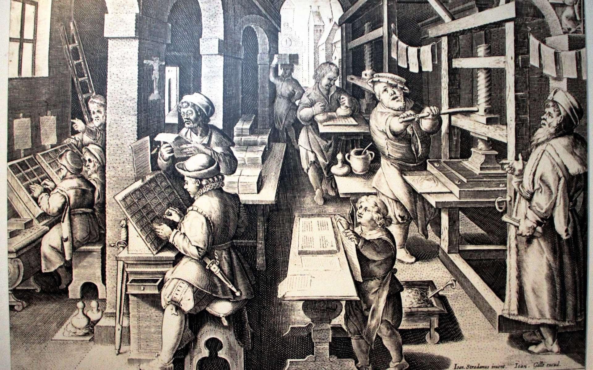 Gravure de Jan van der Straet, peintre flamand (1523-1605) représentant un atelier d'impression au XVIe siècle © Codex, CC by-sa 3.0