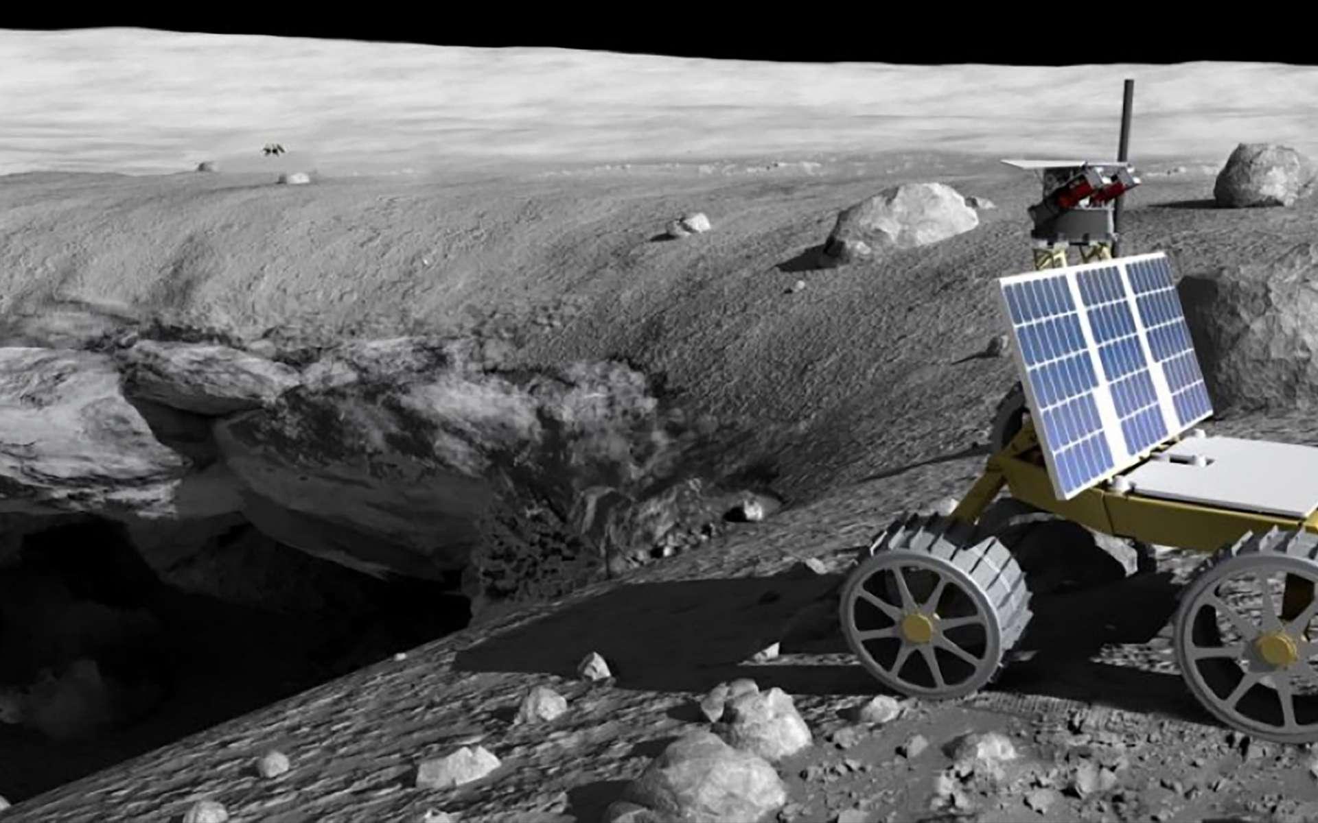 Concept de mission Skylight d'exploration de cratères lunaires. © William Whittaker, Carnegie Mellon University
