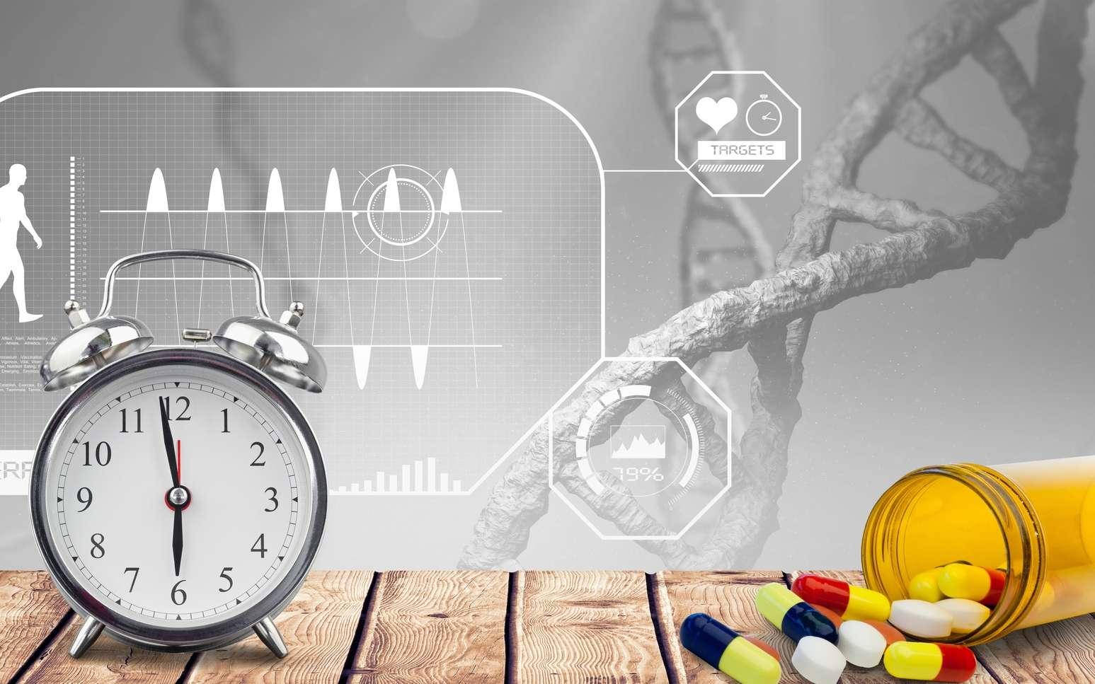 Une horloge avec des médicaments. © vectorfusionart, Fotolia