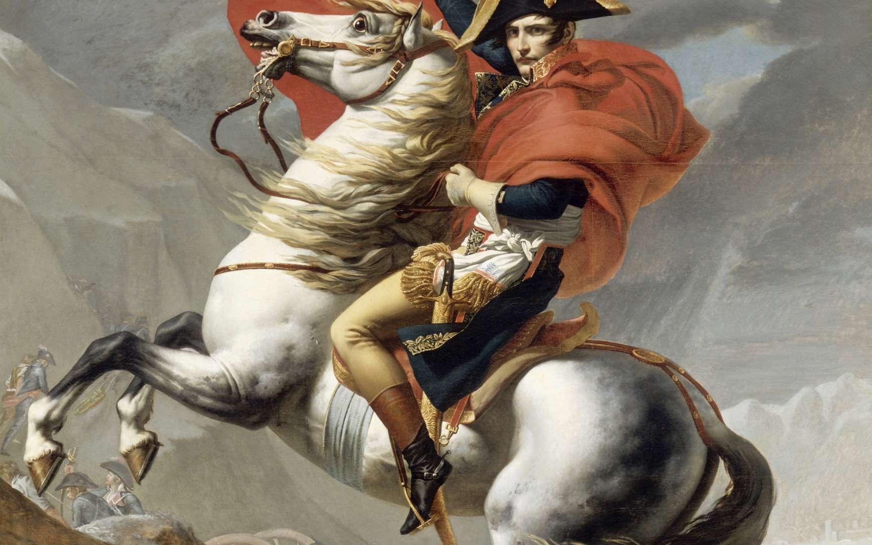Napoléon franchissant le Grand Saint-Bernard (1801), peinture de Jacques-Louis David. © Wikimedia Commons, Domaine public