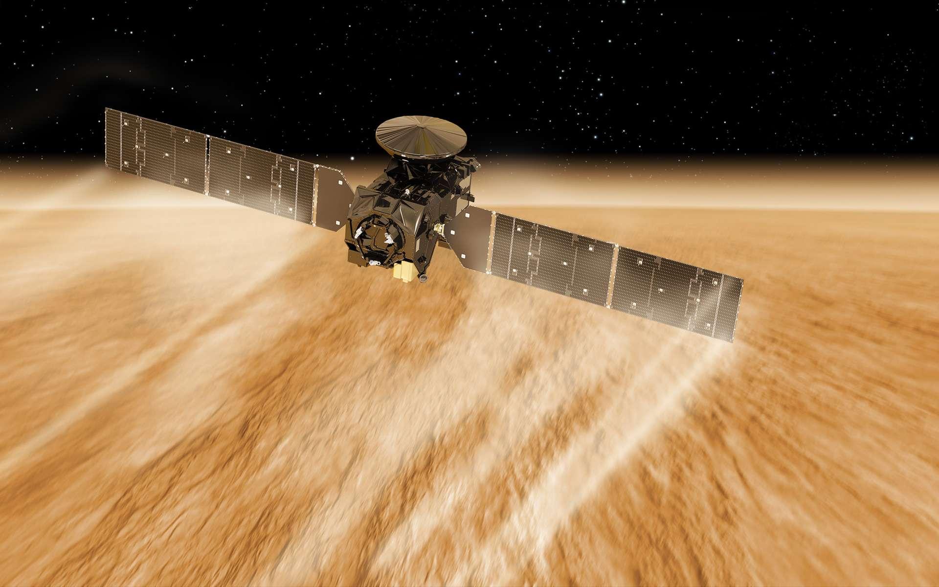 Pour embarquer tous ses systèmes, dont un instrument et le réflecteur, la sonde TGO, qui a réussi son aérofreinage autour de Mars, adopte une forme inhabituelle, très cintrée. © ESA, ATG Medialab